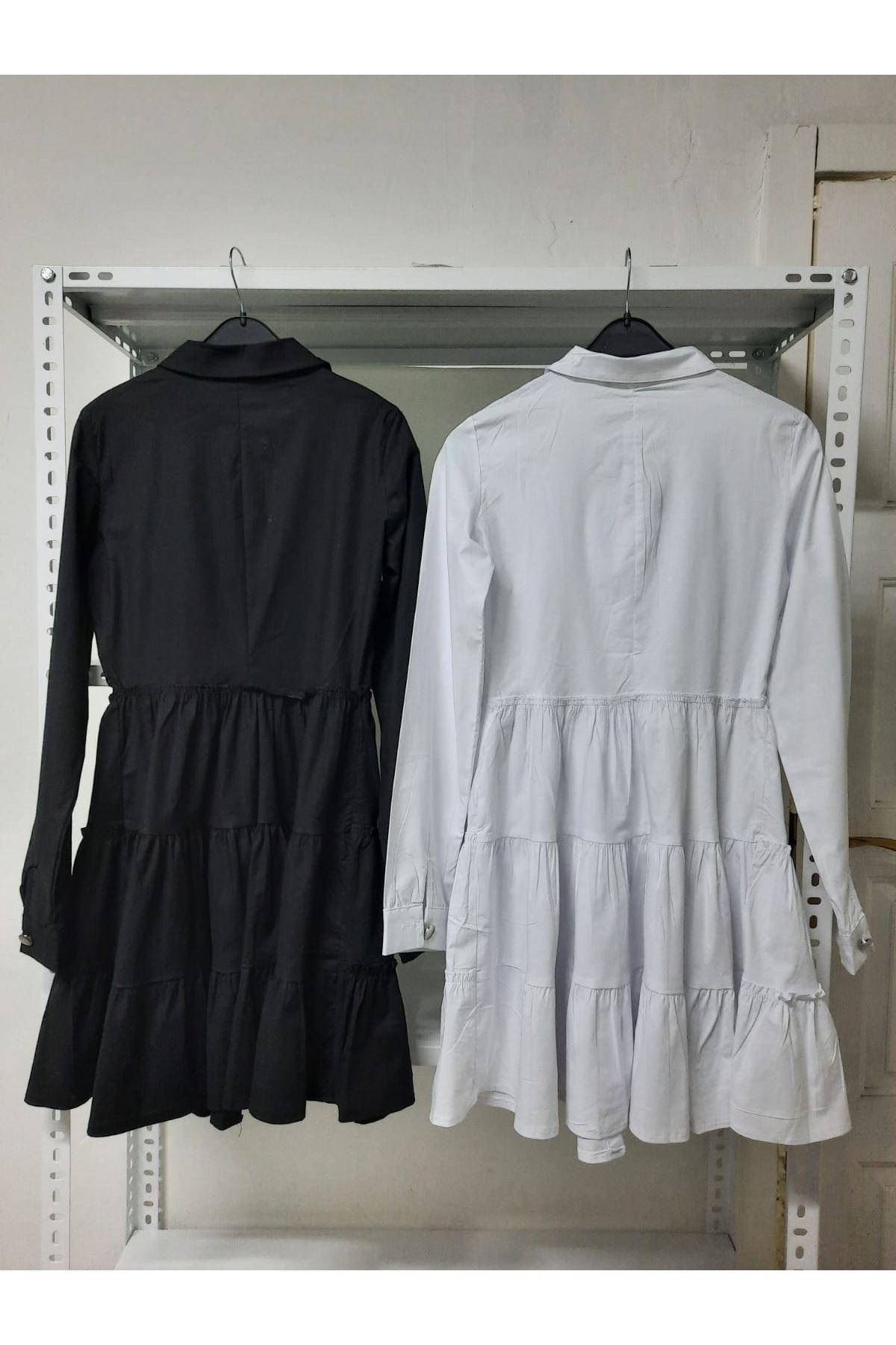 Poplin Kumaş Gömlek Elbise - siyah