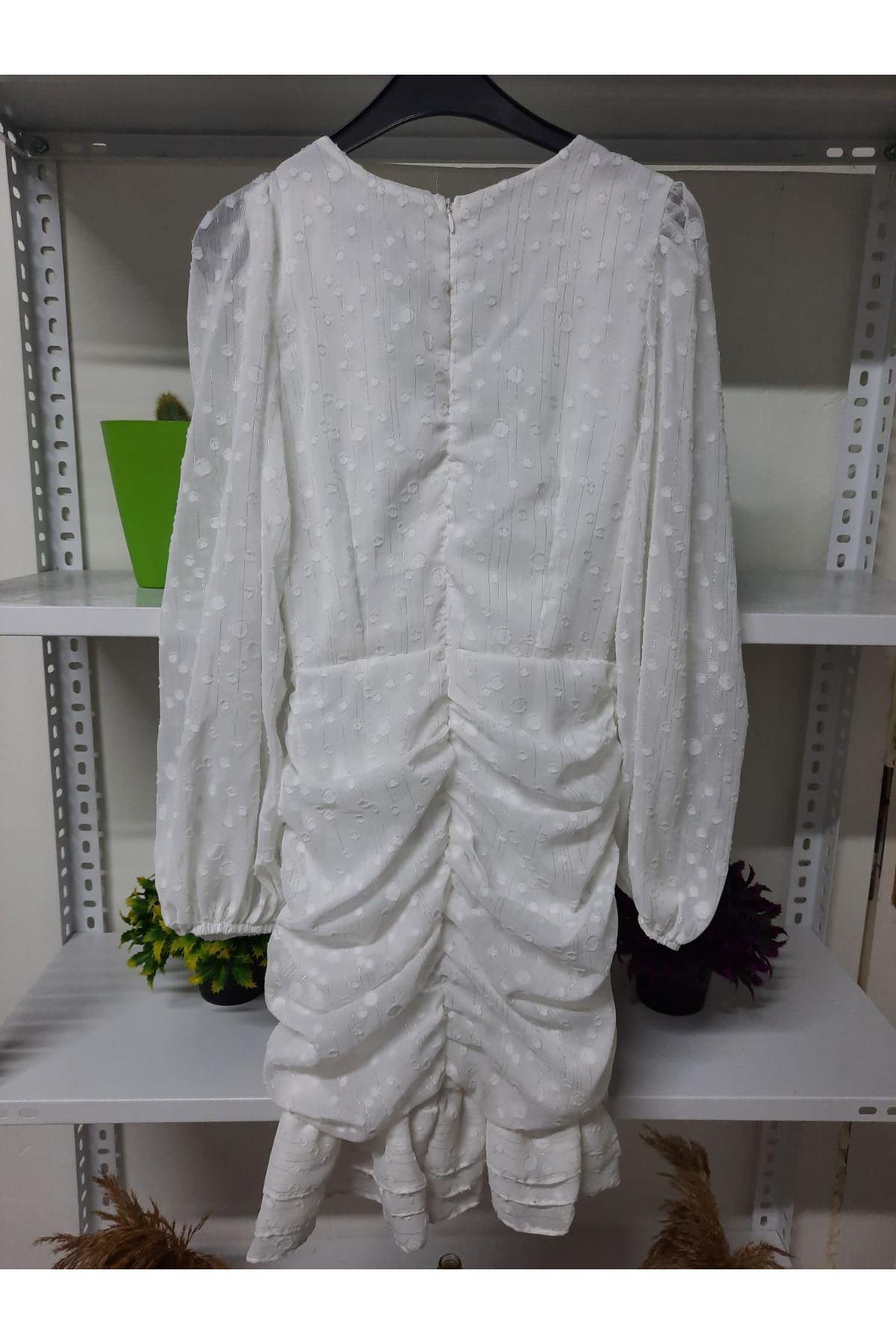 Puanlı Mini Elbise - beyaz