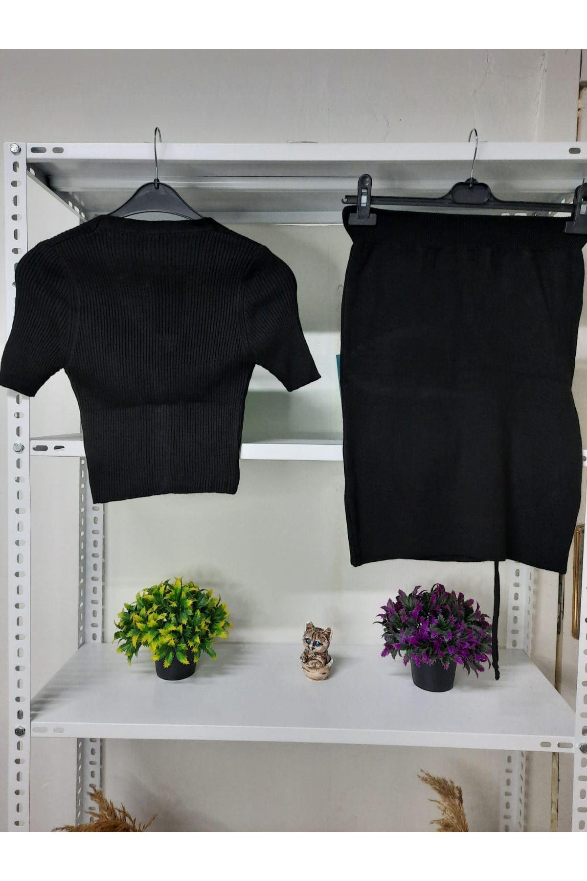 Etek Büzgülü Triko Takım - siyah