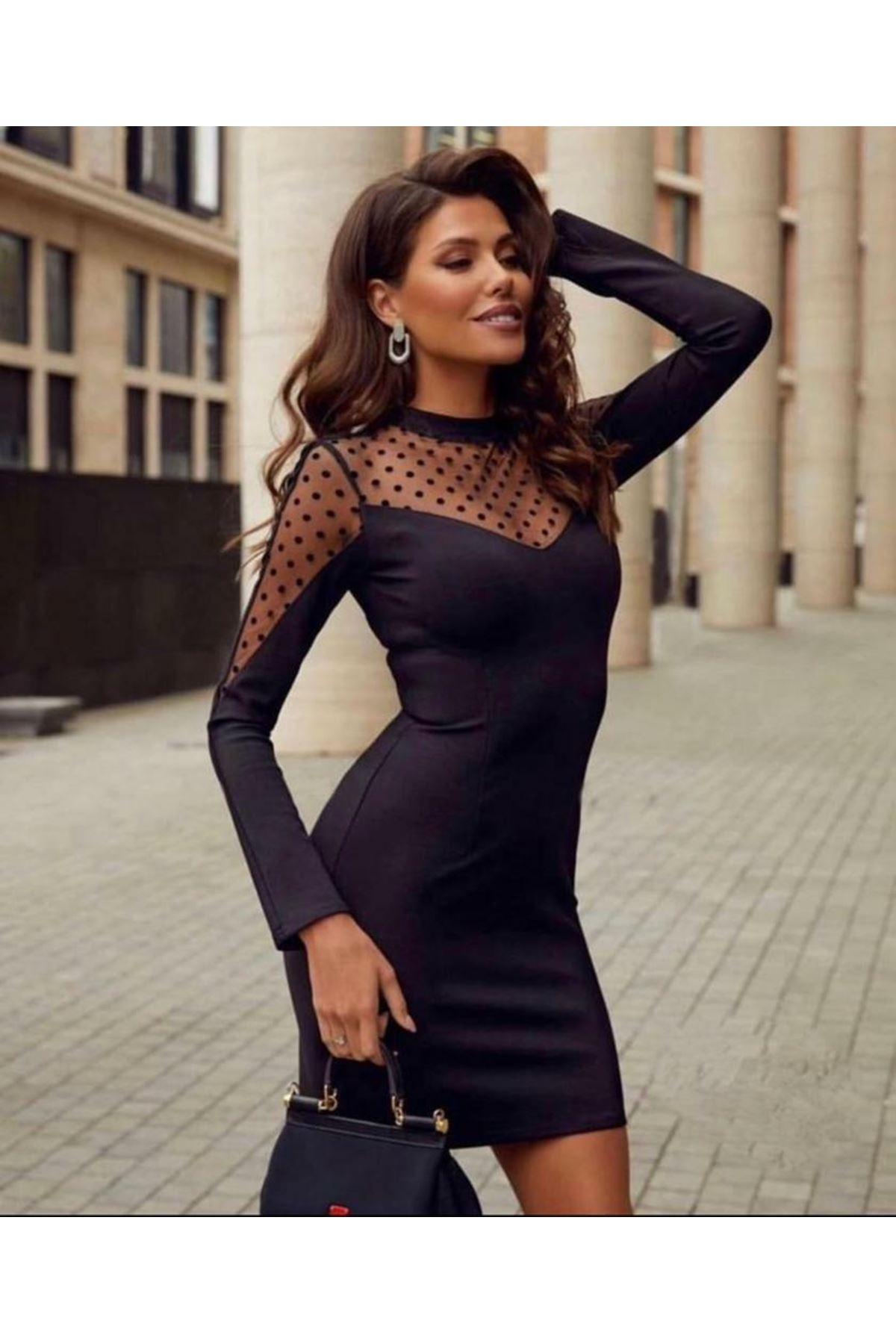 Tül Puan Detaylı Scuba Elbise - Siyah