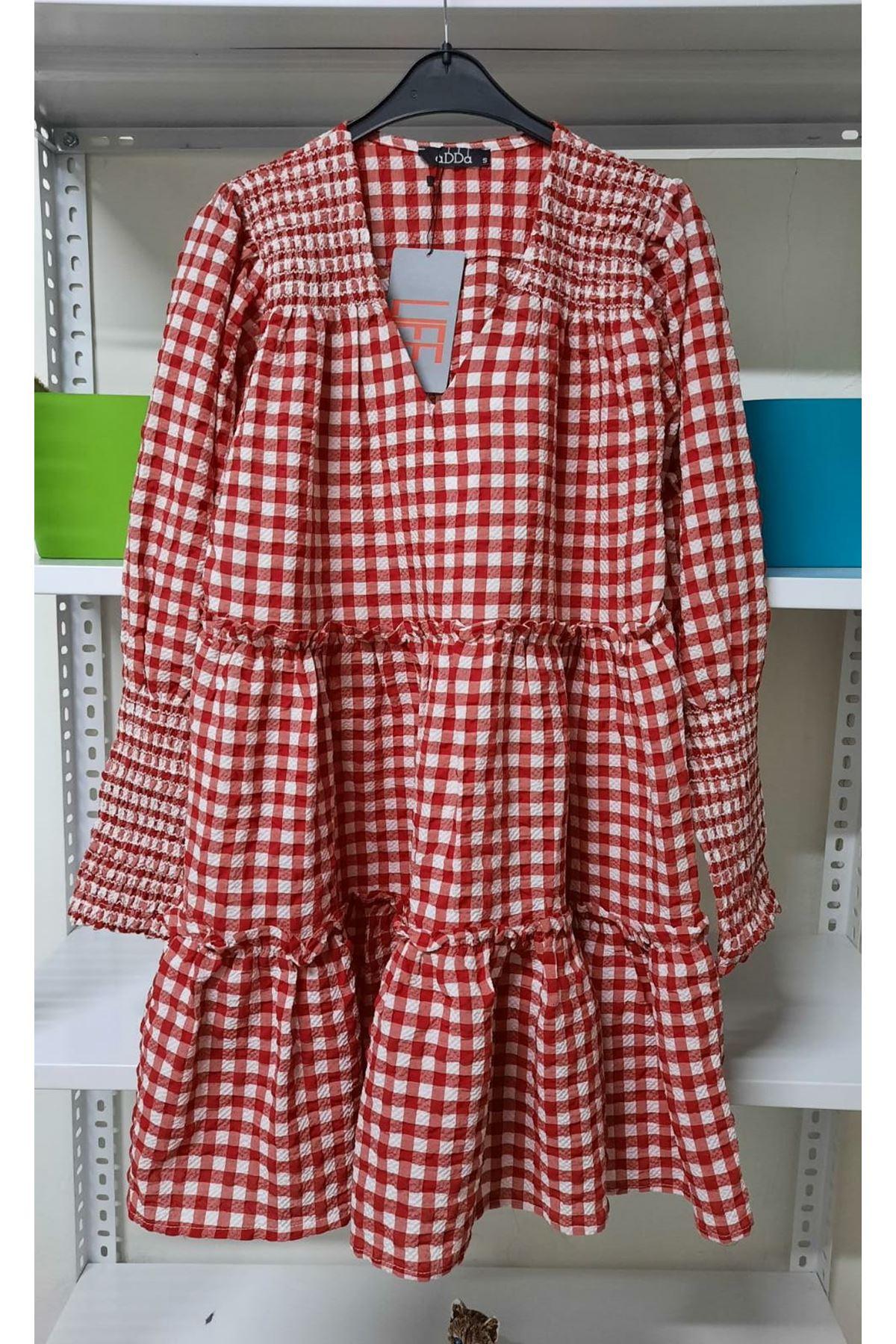 Ekose Desen Mini Elbise - Kırmızı