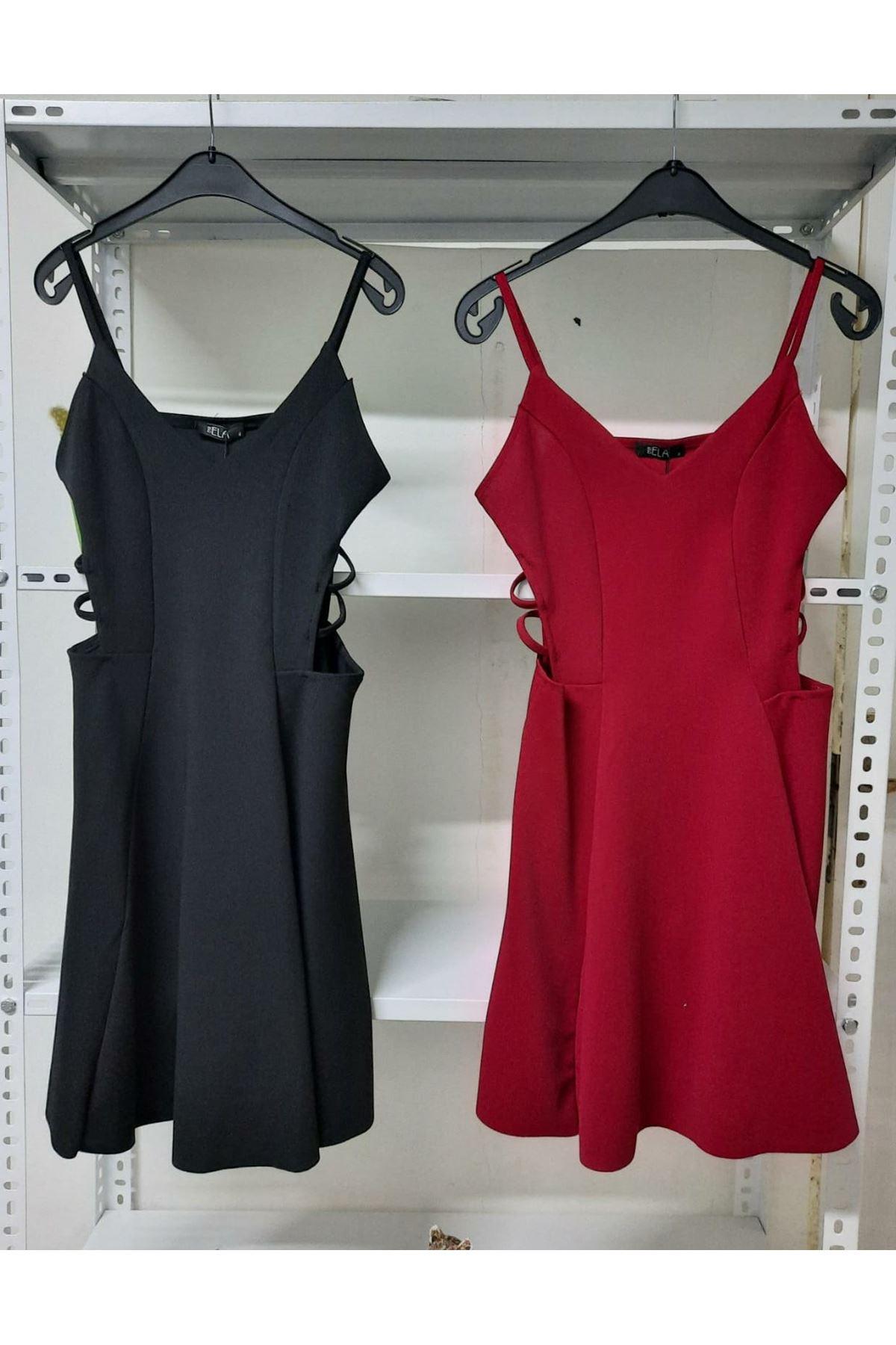 Yanı Detaylı Mini Elbise - Bordo