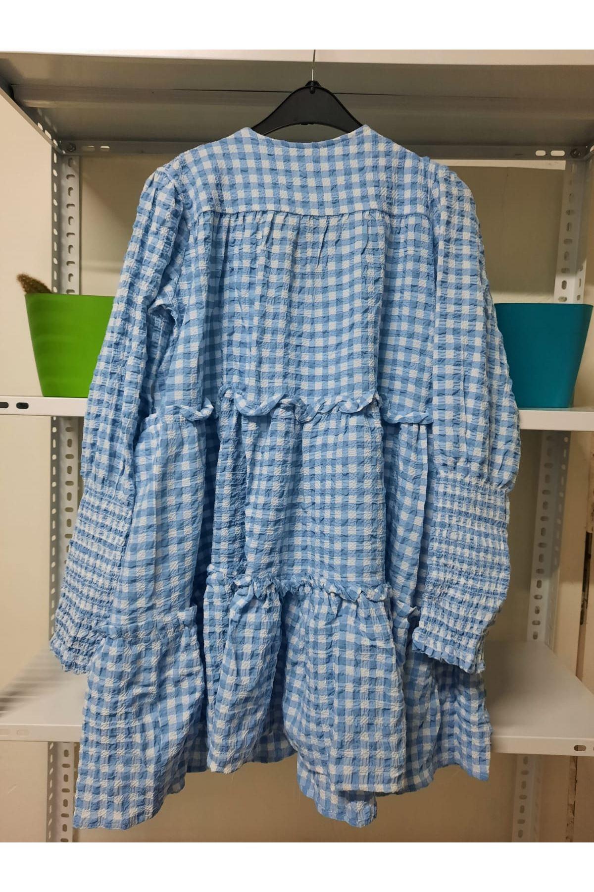 Ekose Desen Mini Elbise - Mavi