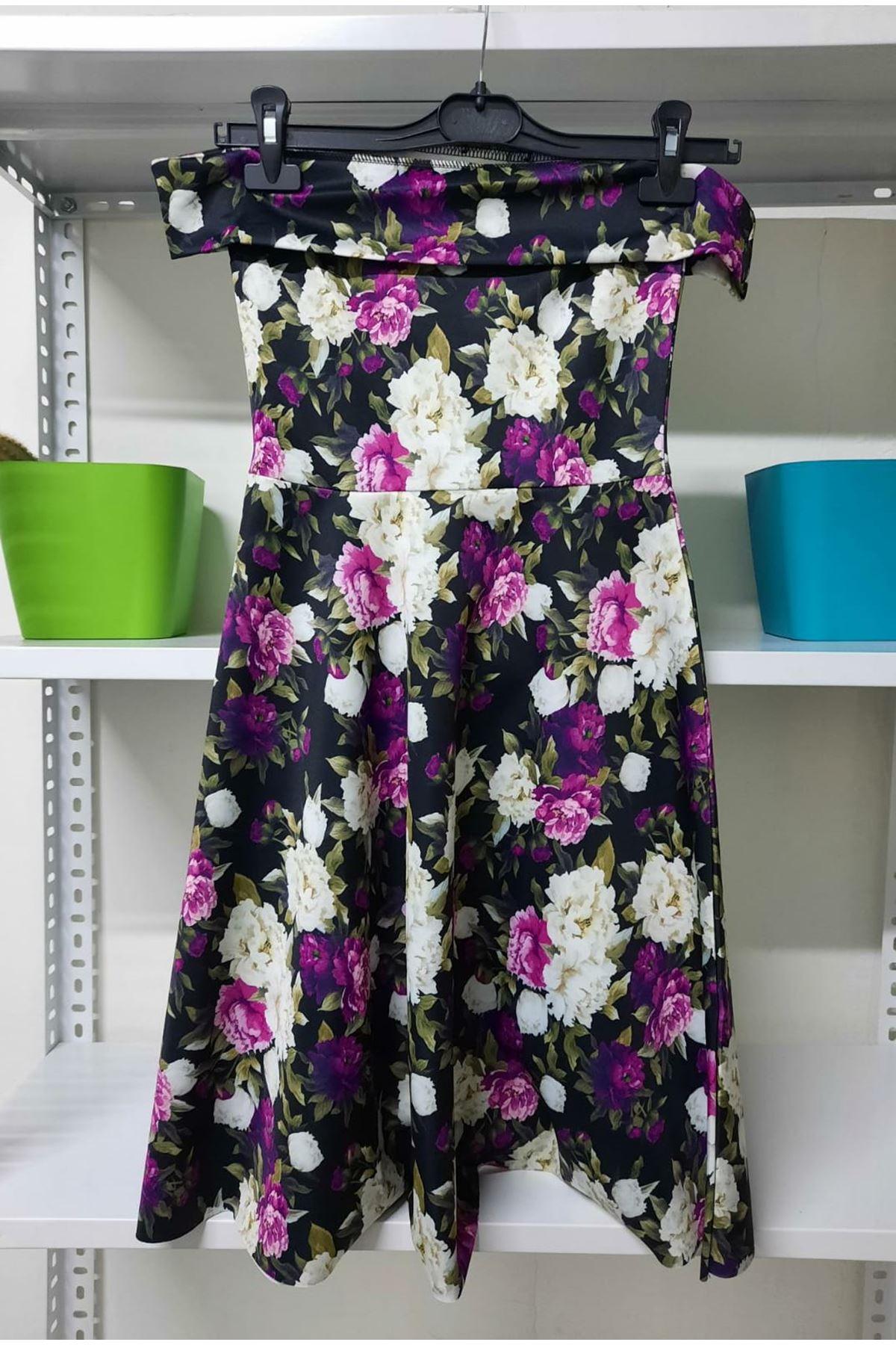Çiçek Baskılı Düşük Omuz Elbise - Siyah