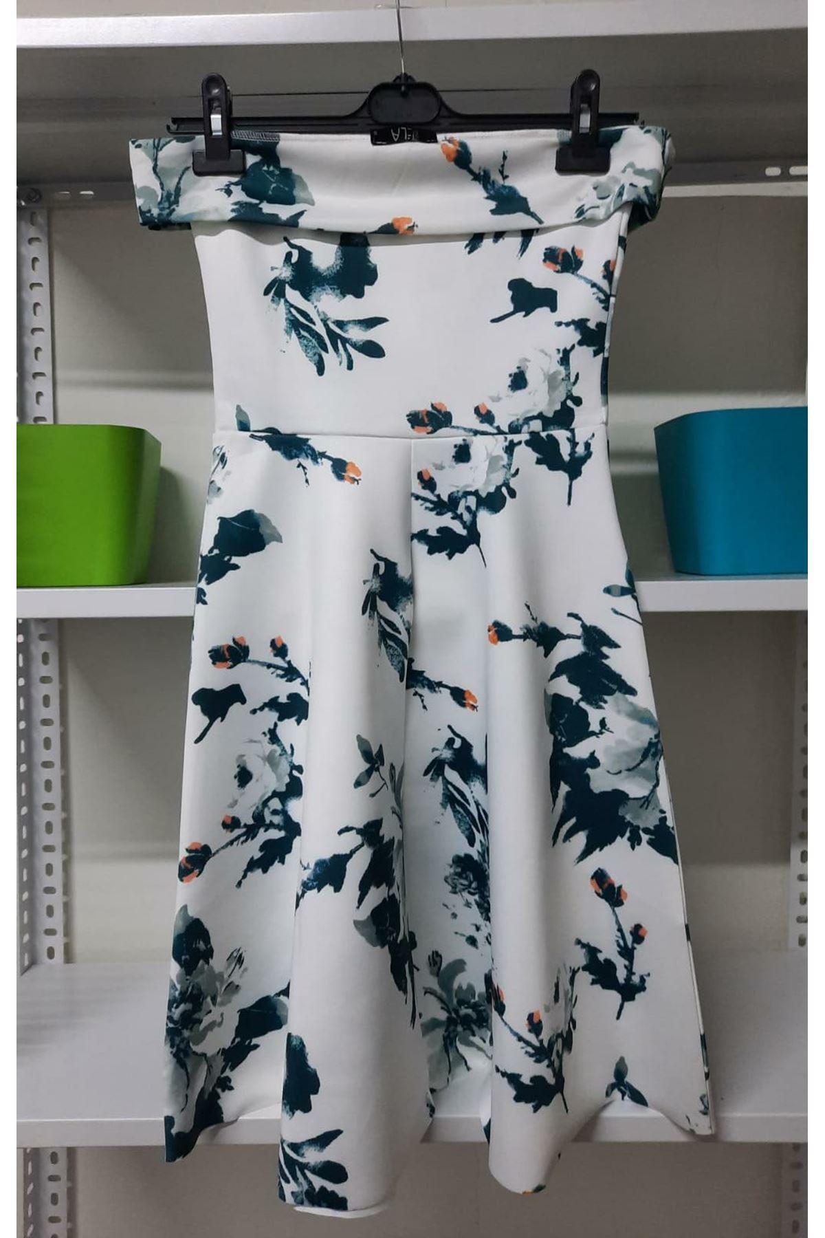 Çiçek Baskılı Düşük Omuz Elbise - Beyaz