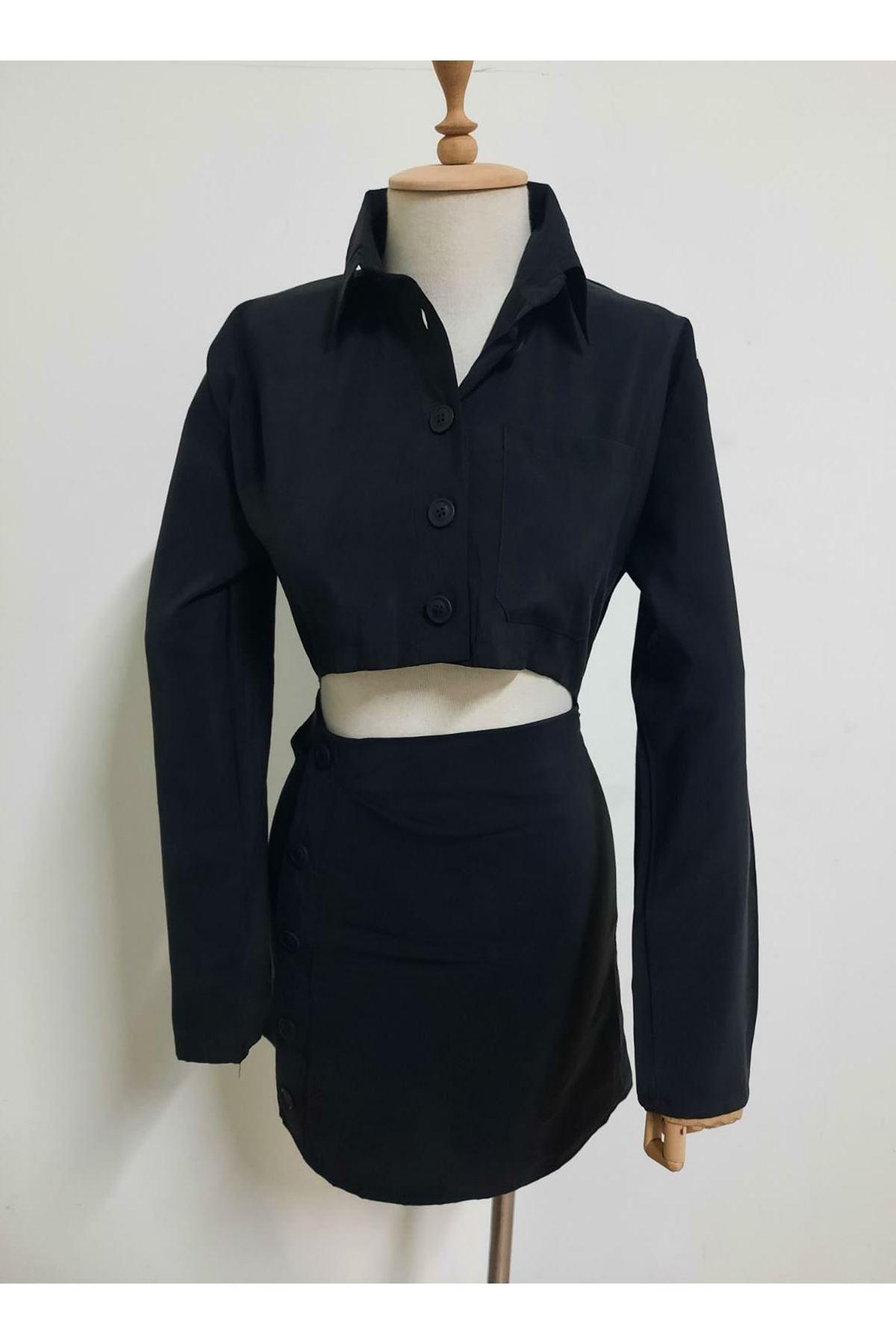 Dekolteli Gömlek Elbise - Siyah