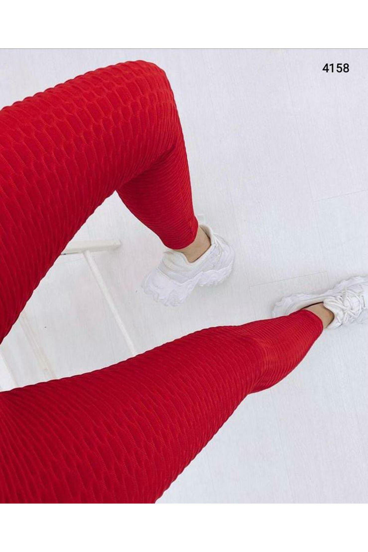 Petek Desen Tayt - Kırmızı