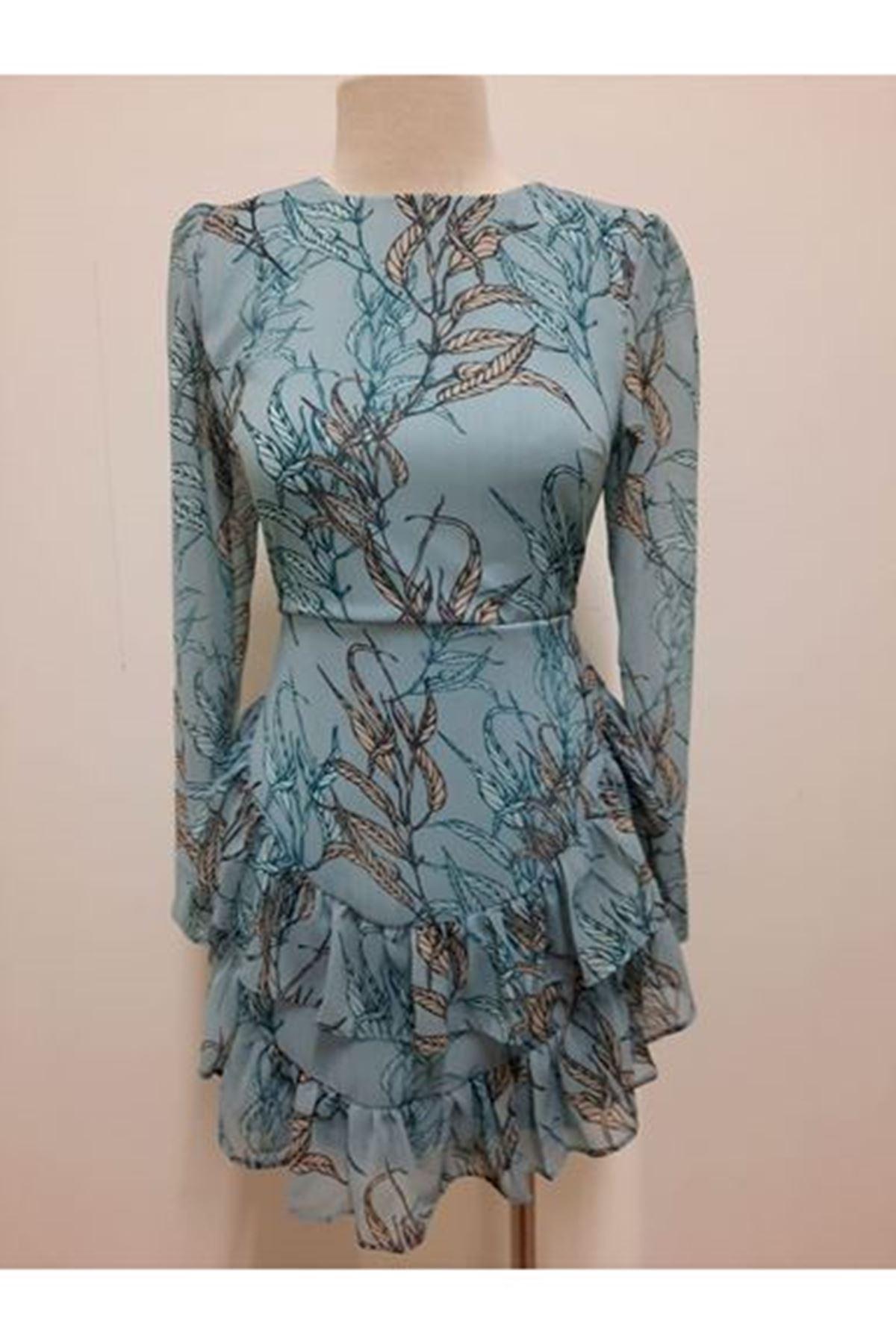 Asimetrik Mini Elbise - Mavi