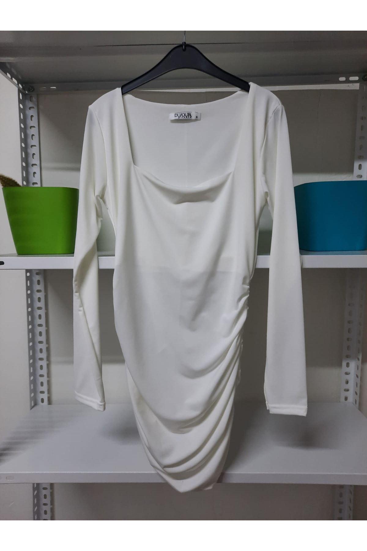 U Yaka Sandy Elbise - Beyaz