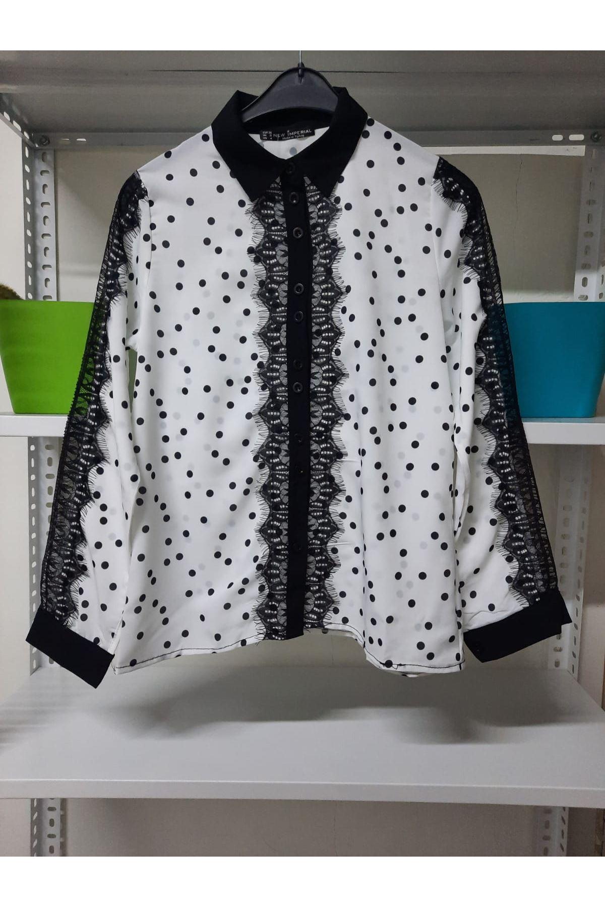 Puanlı Dantel Detaylı Gömlek - Beyaz
