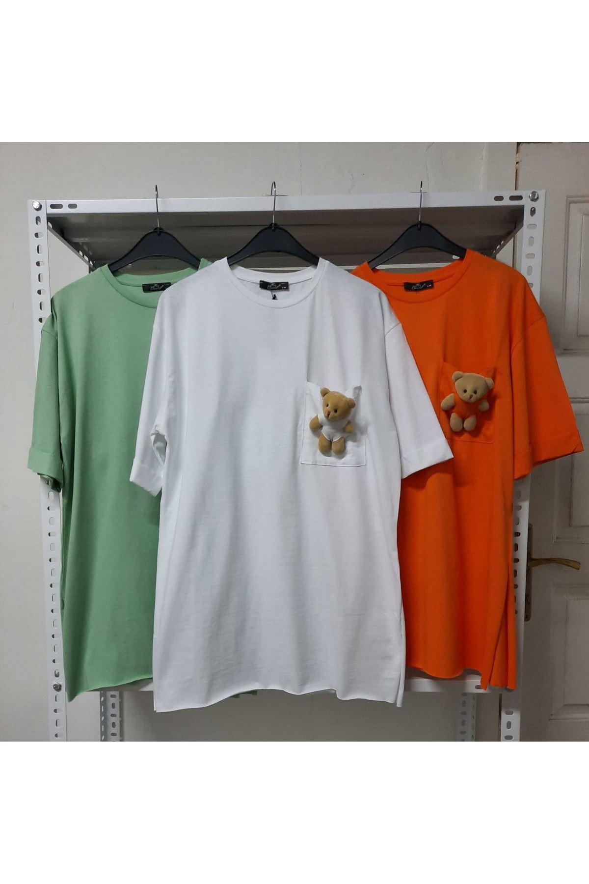 Cep Ayıcık Detaylı T-shirt - Beyaz