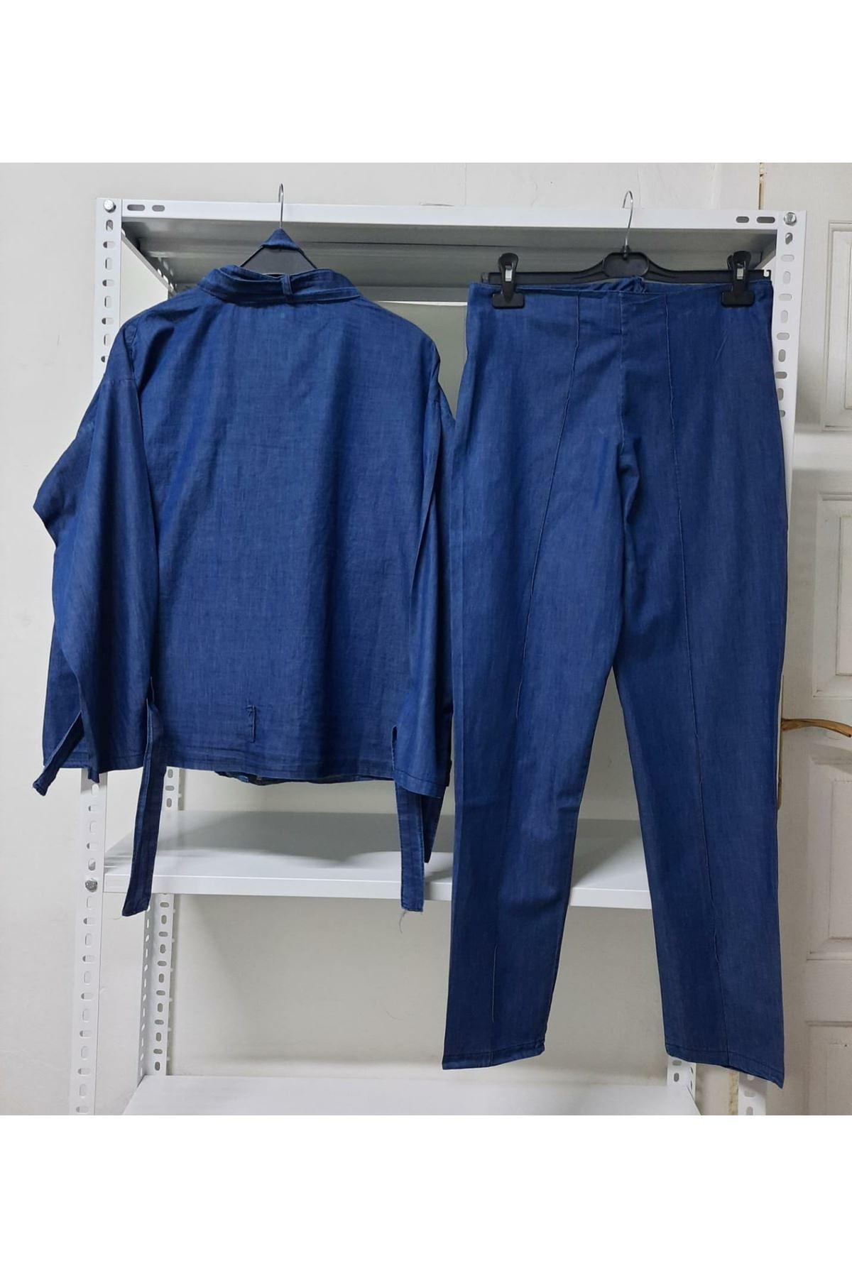 İkili kot takım - mavi