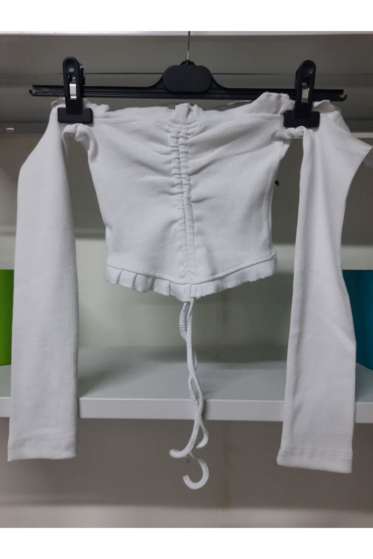 Pamuk Kaşkorse Bluz - Beyaz