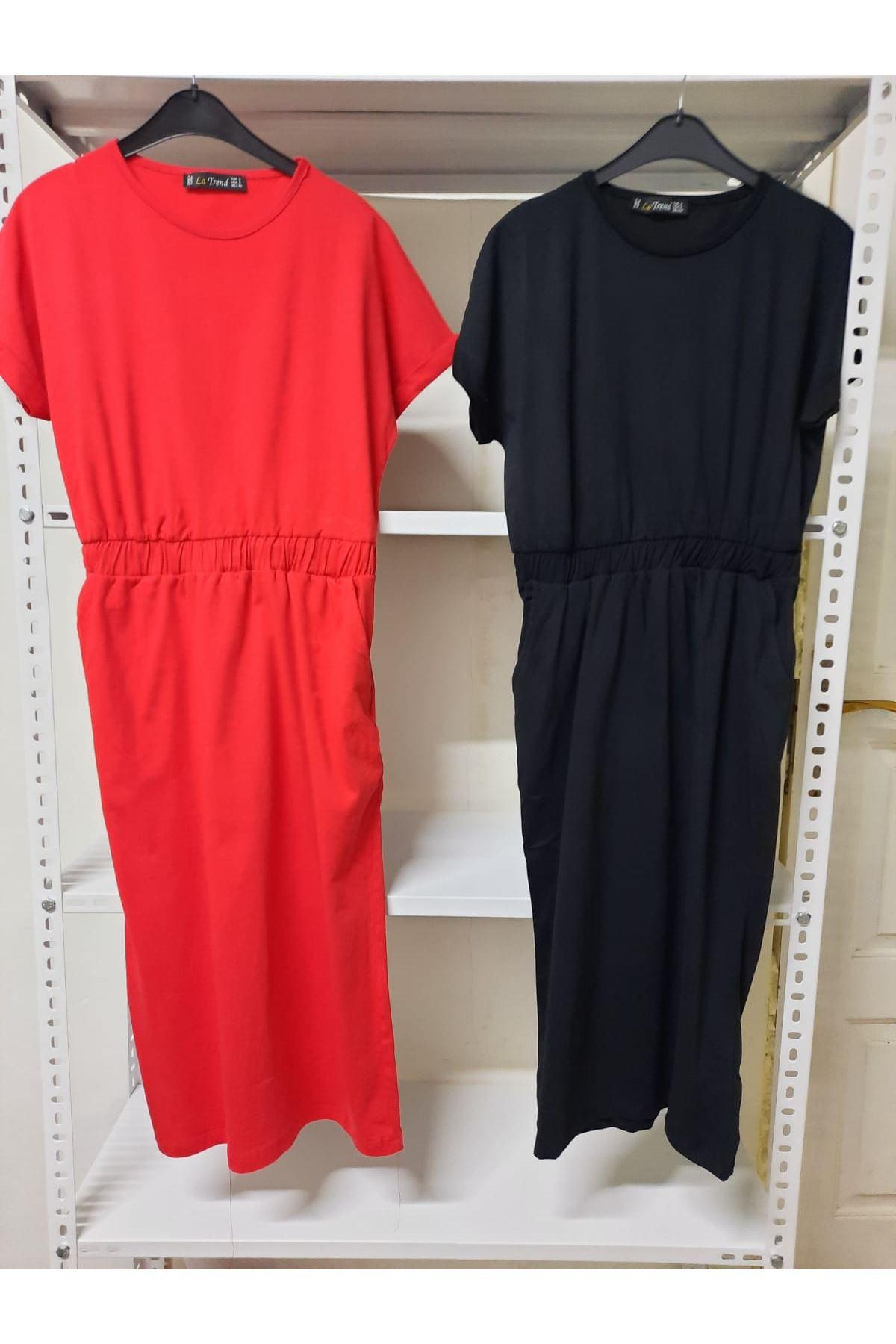 Garnili Kısa Kol Elbise - Bordo