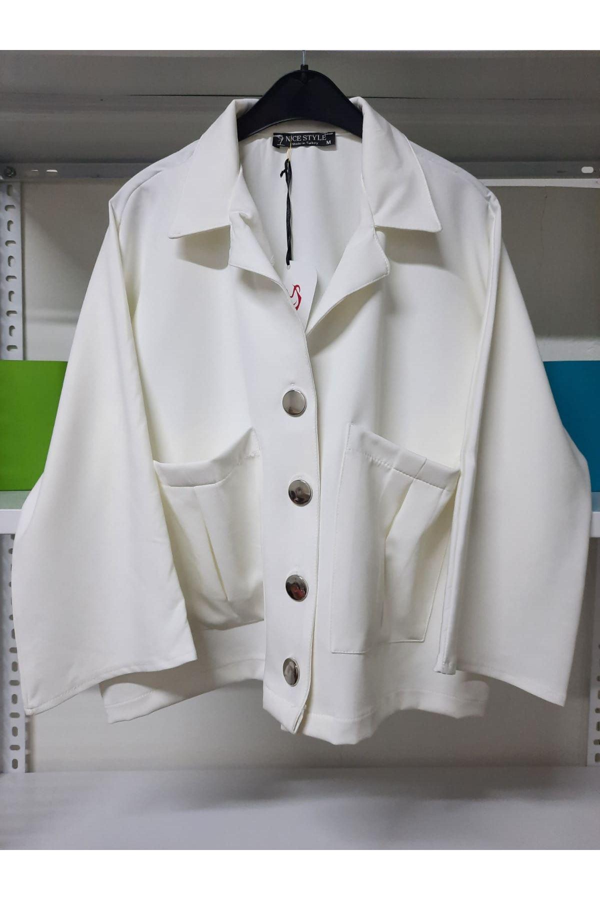 Cep Detaylı Ceket Yaka Gömlek - beyaz