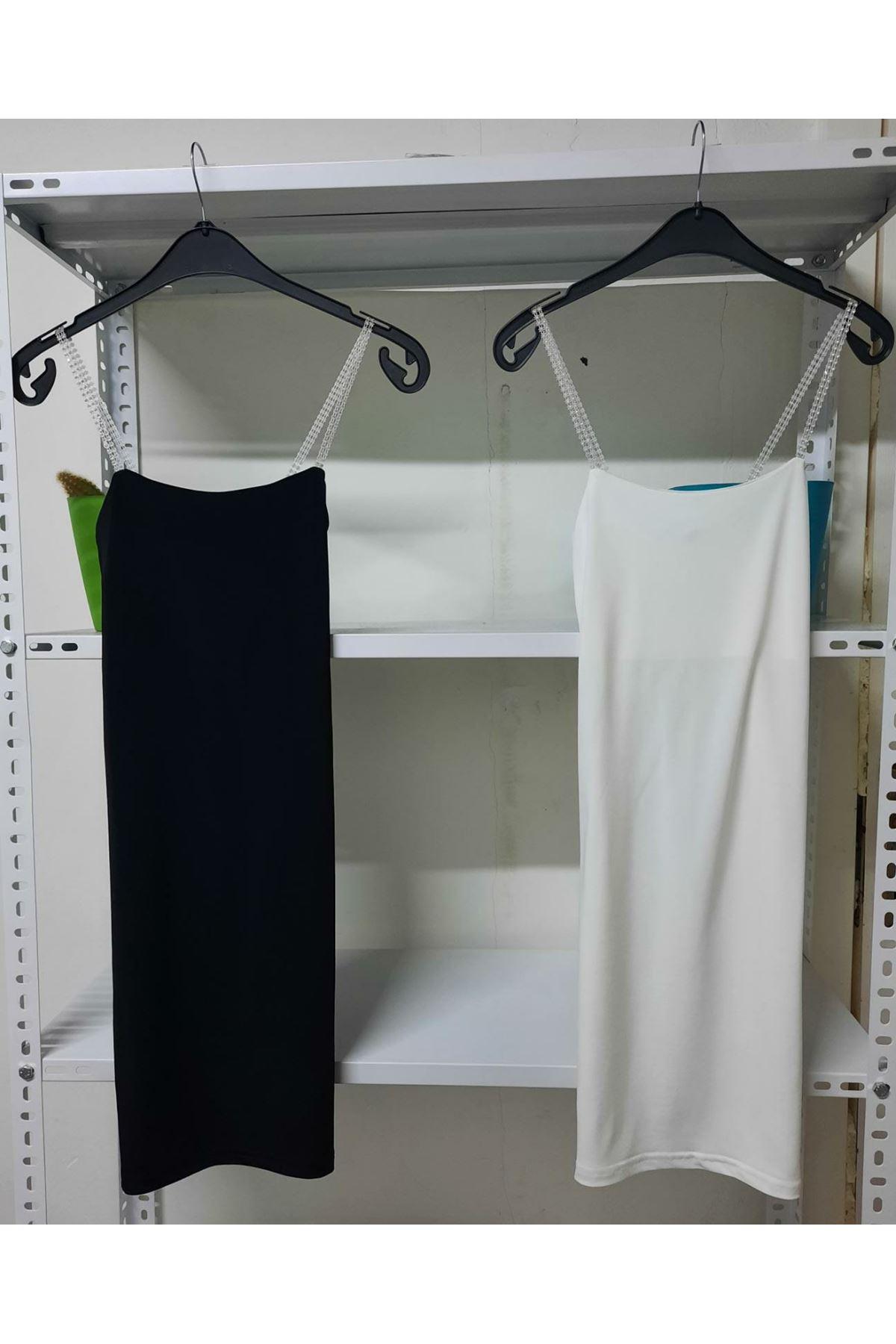 Taş Askılı Elbise - Siyah