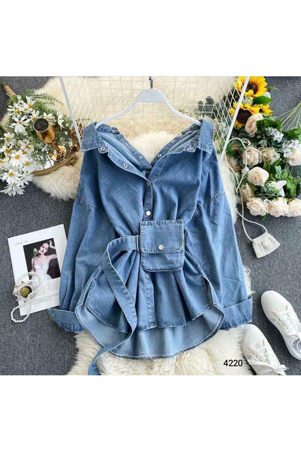 Çanta Kemer Detaylı Kot Ceket Elbise - Mavi