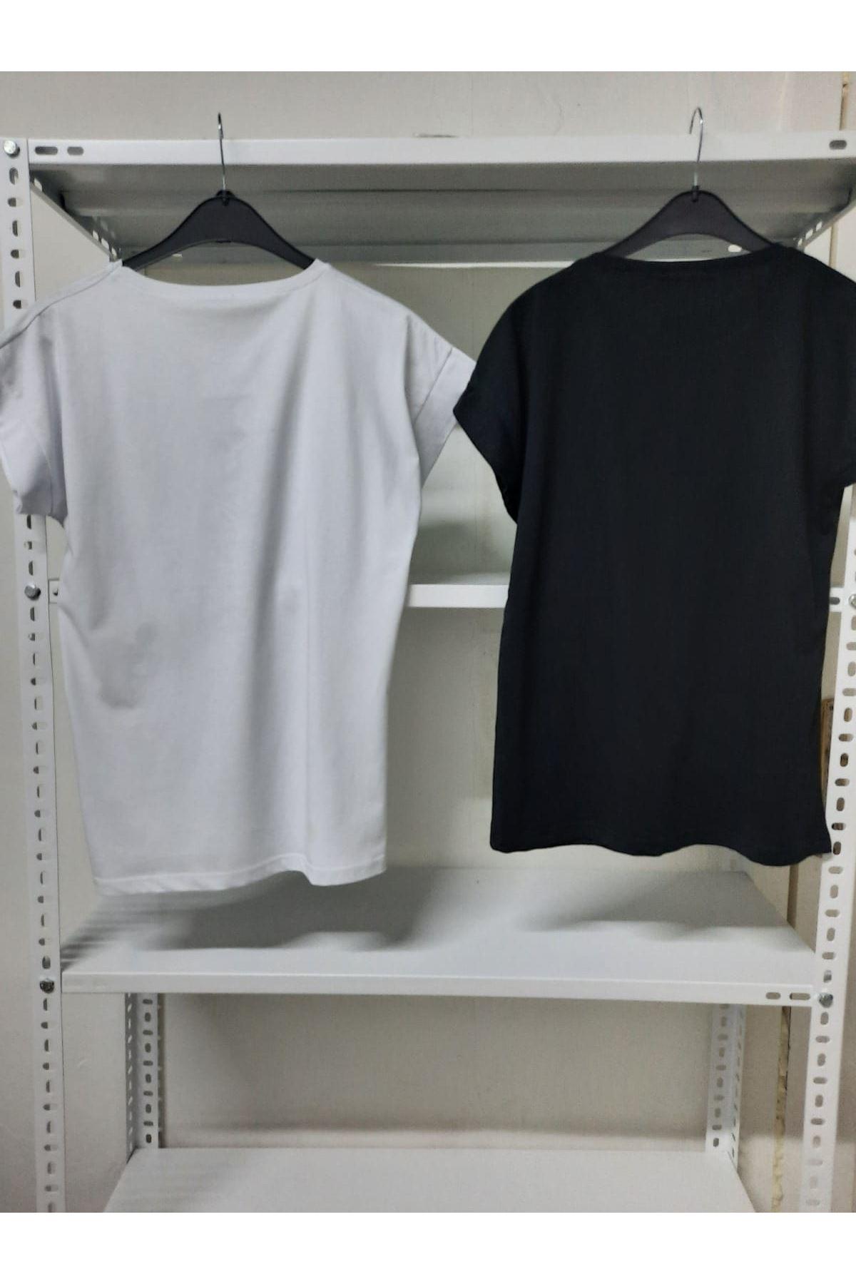 Yazı Baskılı T-shirt - Siyah
