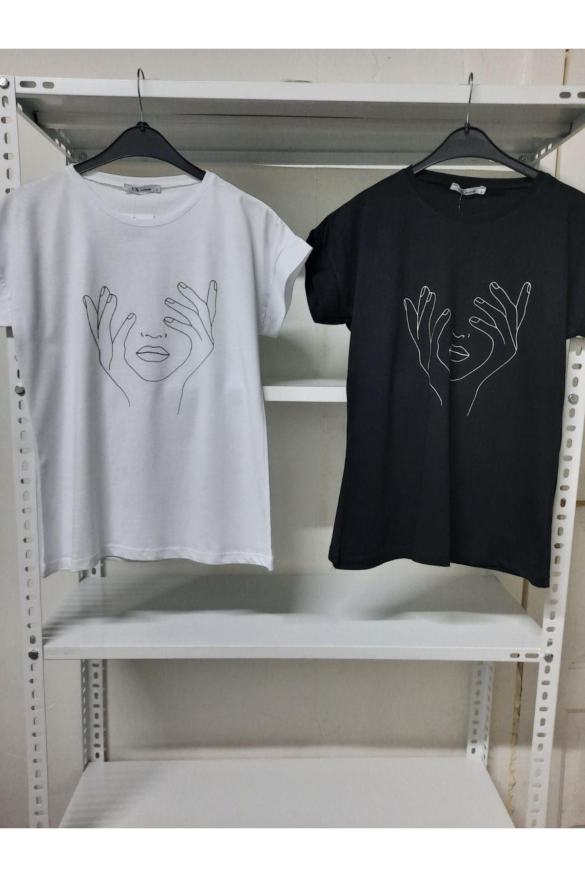 Silüet Baskılı T-shirt - Siyah