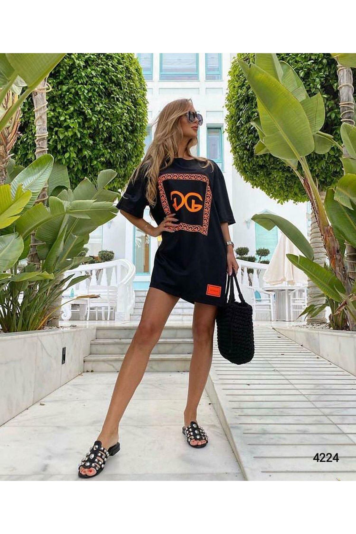 GG Desen Tunik Elbise - Siyah