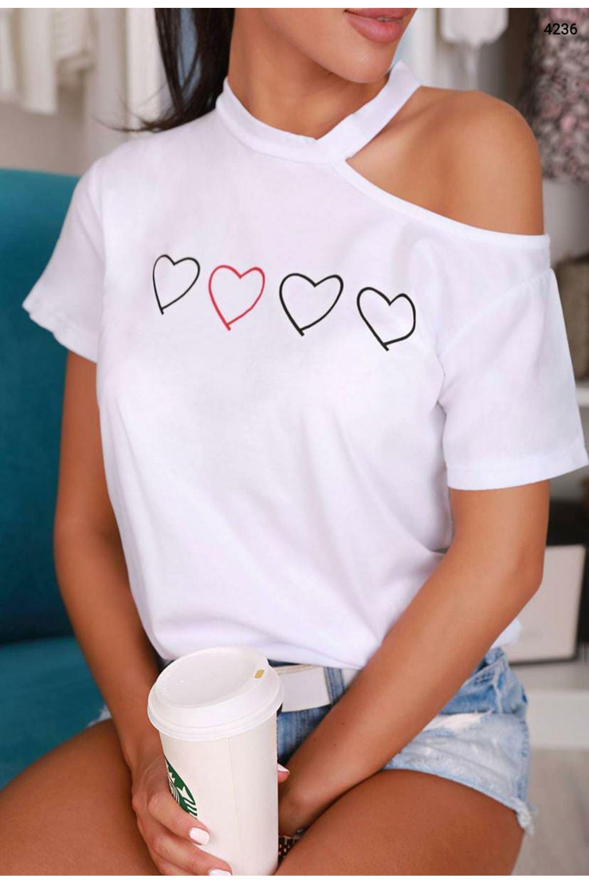 Omuz Detaylı Kalp Baskı Tshirt - Beyaz