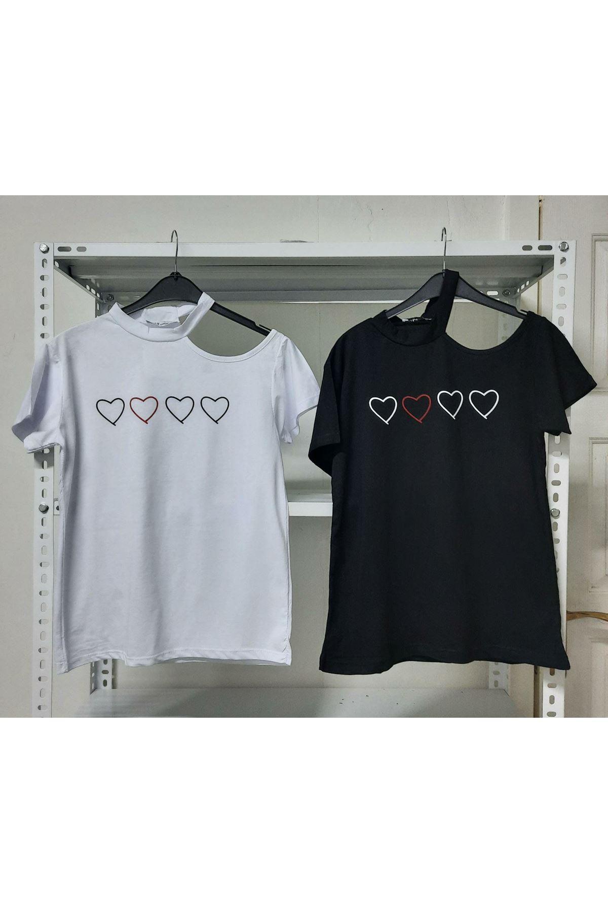 Omuz Detaylı Kalp Baskı Tshirt - Siyah