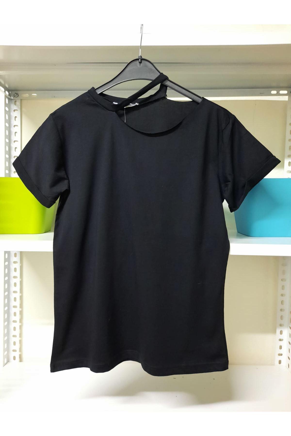 Omuz Dekolteli Tshirt - Siyah