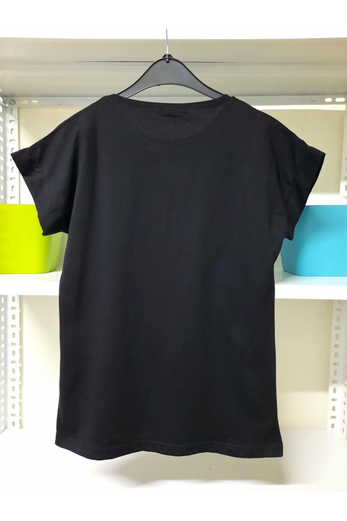 Kalp Baskı Model Tshirt - Siyah