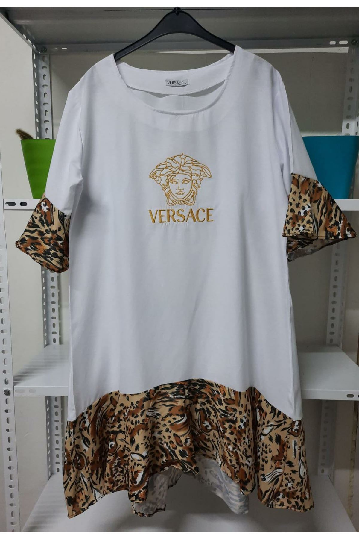 VS Model Leopar Detaylı Elbise - Beyaz