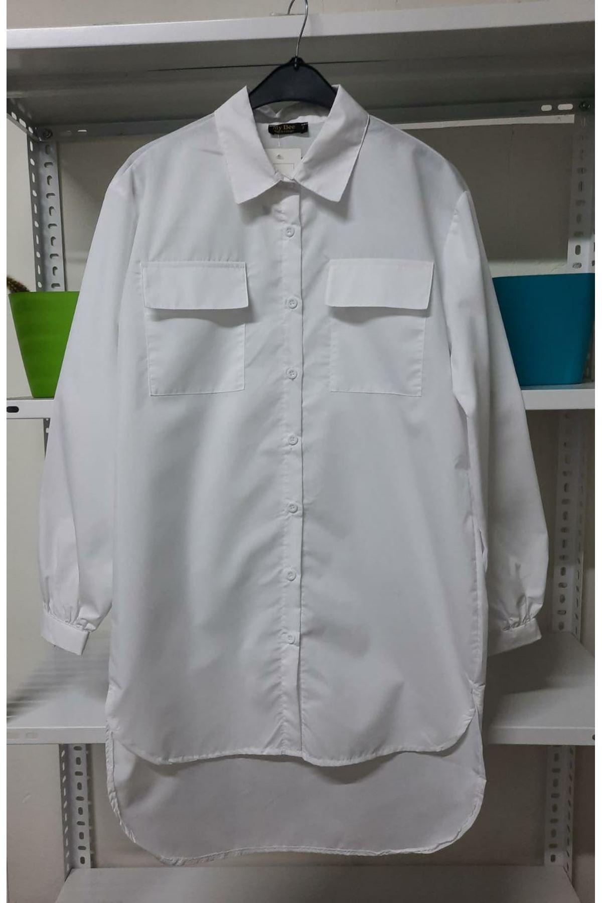 Asimetrik Cep Detaylı Gömlek - Beyaz