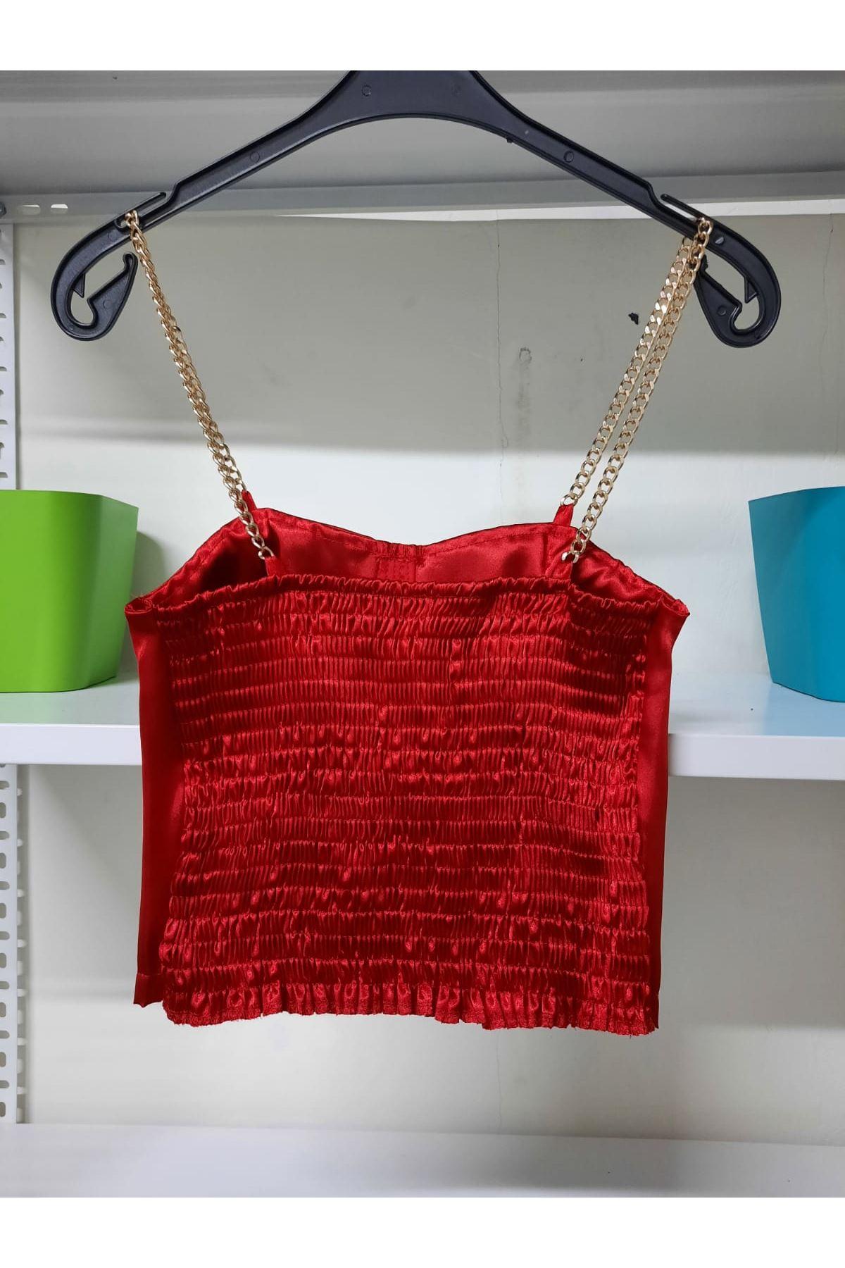 Arkası Gipeli Saten Bluz - Kırmızı
