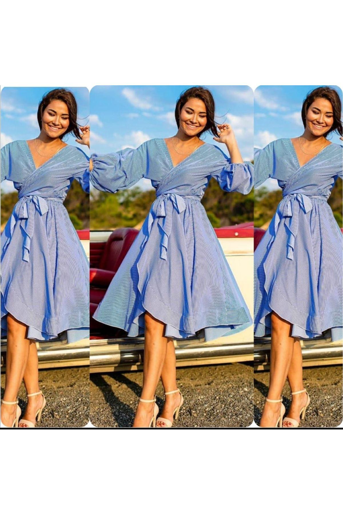 Balon Kol Elbise - Mavi