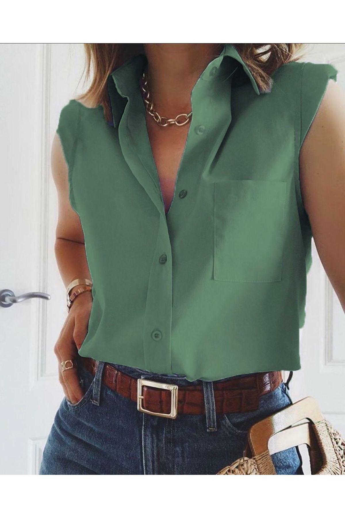Kısa Kol Poplin Gömlek - Yeşil