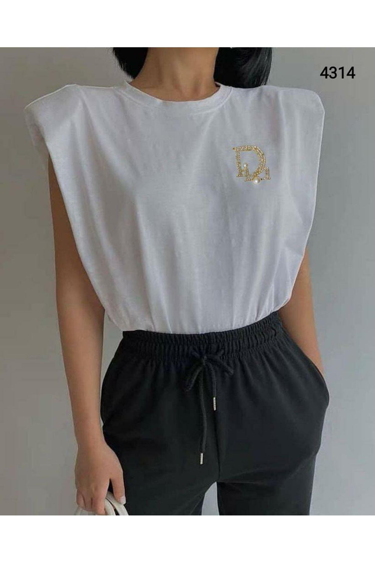 Vatkalı Basic Tshirt - BEYAZ