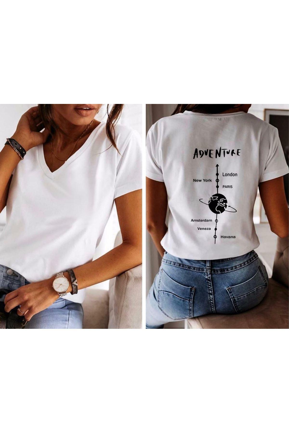 Adventure Sırt Baskılı Tshirt - BEYAZ