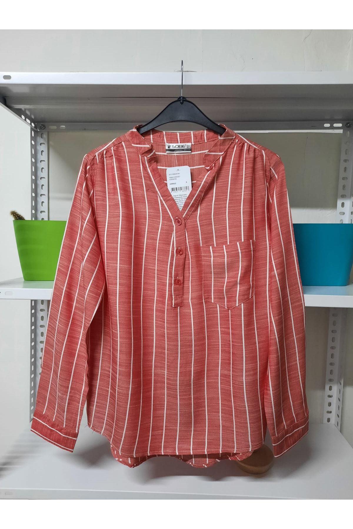 Çizgi Desen Gömlek - Kırmızı