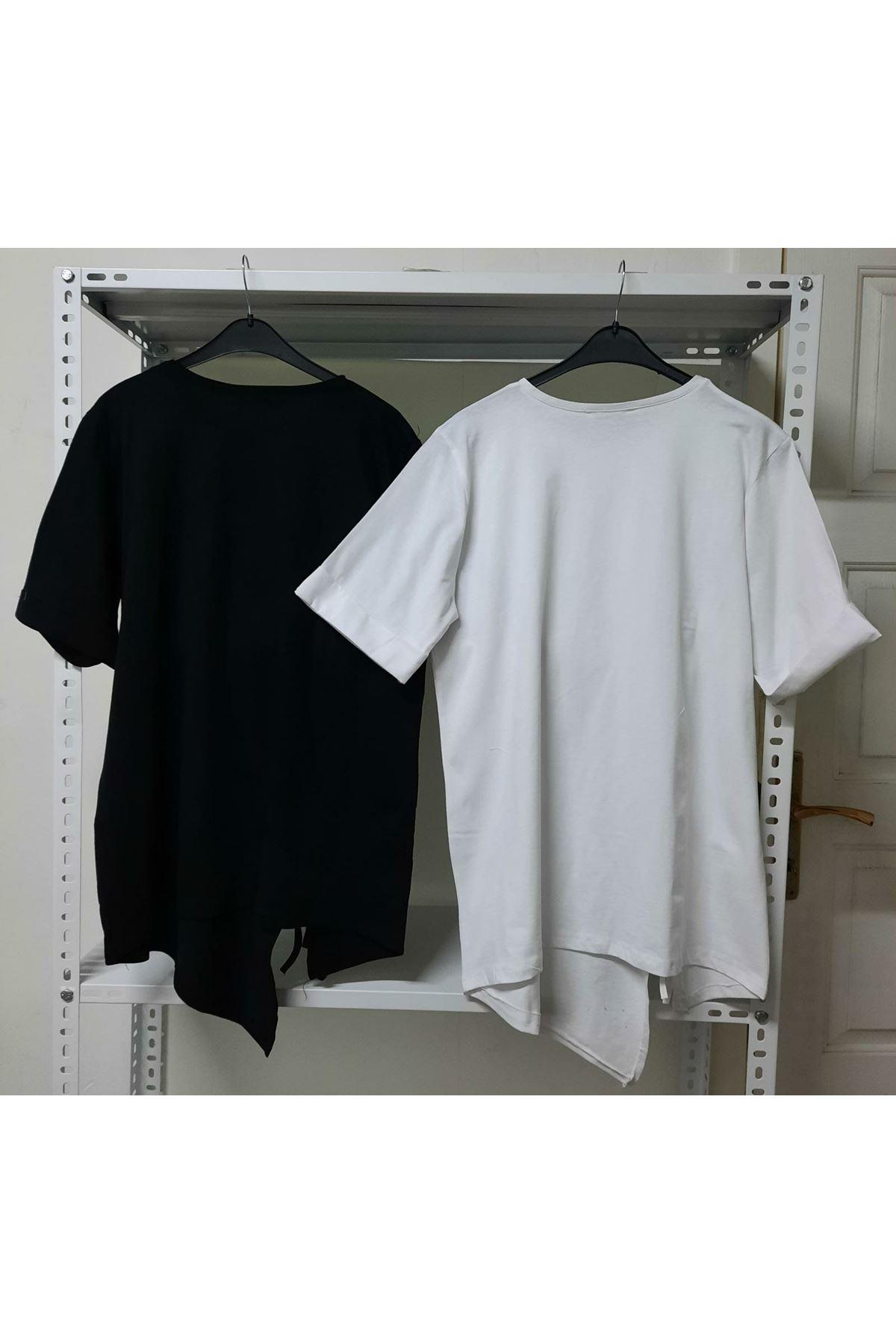 Büzgü Detaylı T-shirt - Beyaz