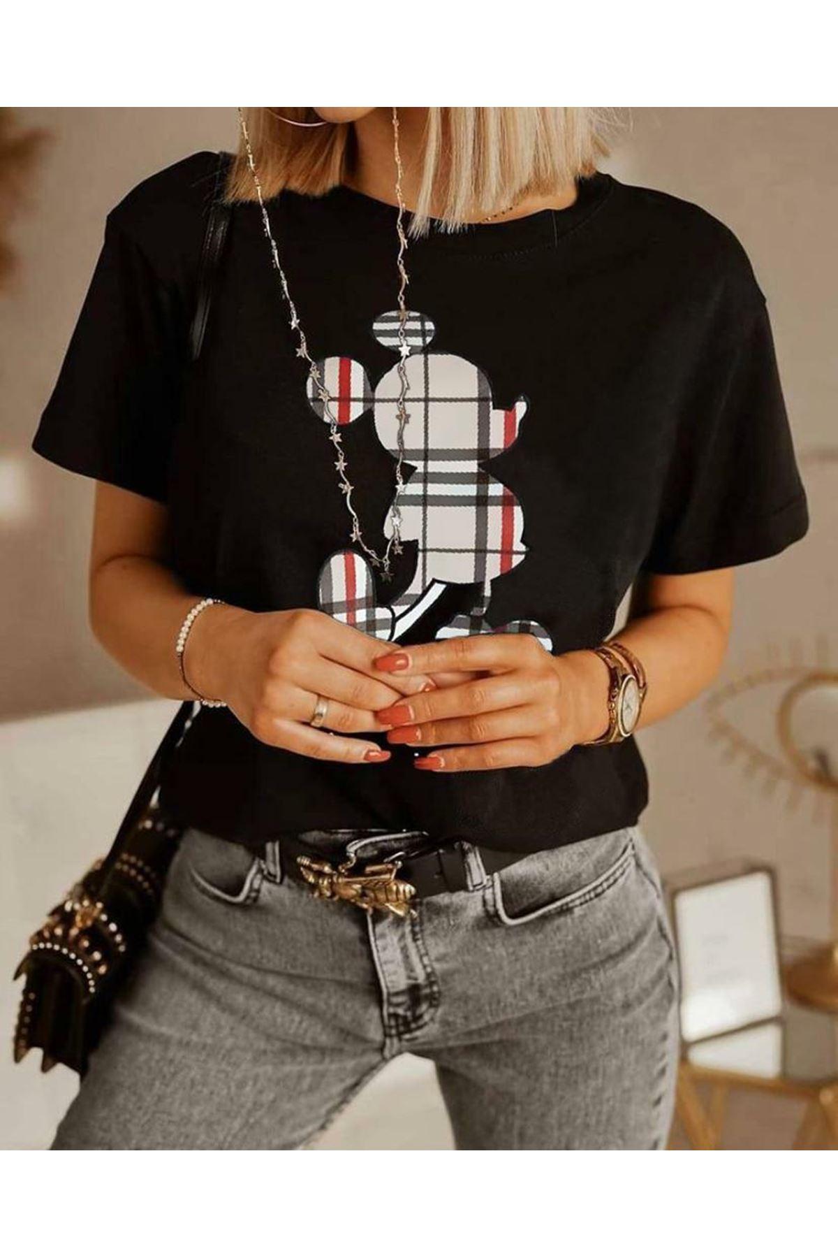 Ekose Mıckey Baskı T-shirt - Siyah