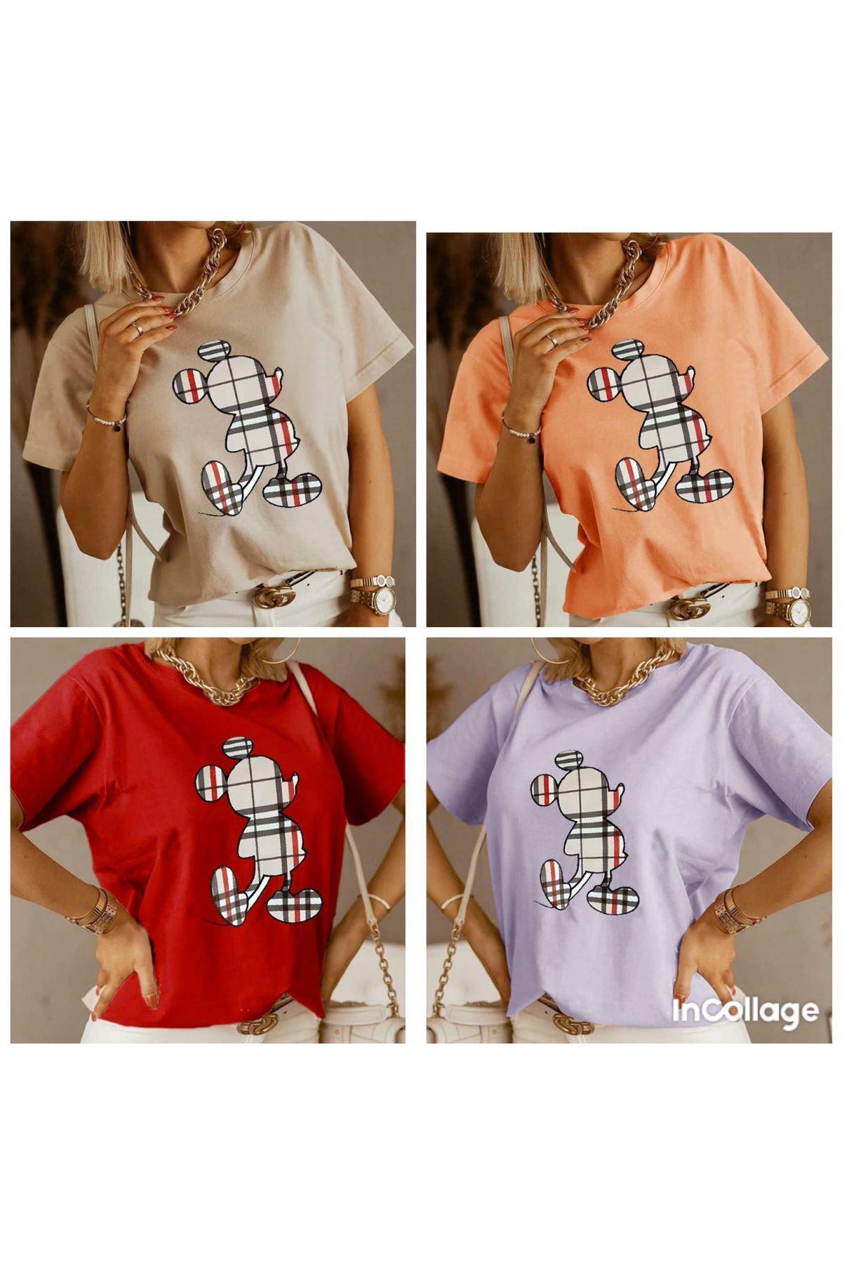 Ekose Mıckey Baskı T-shirt - Bej