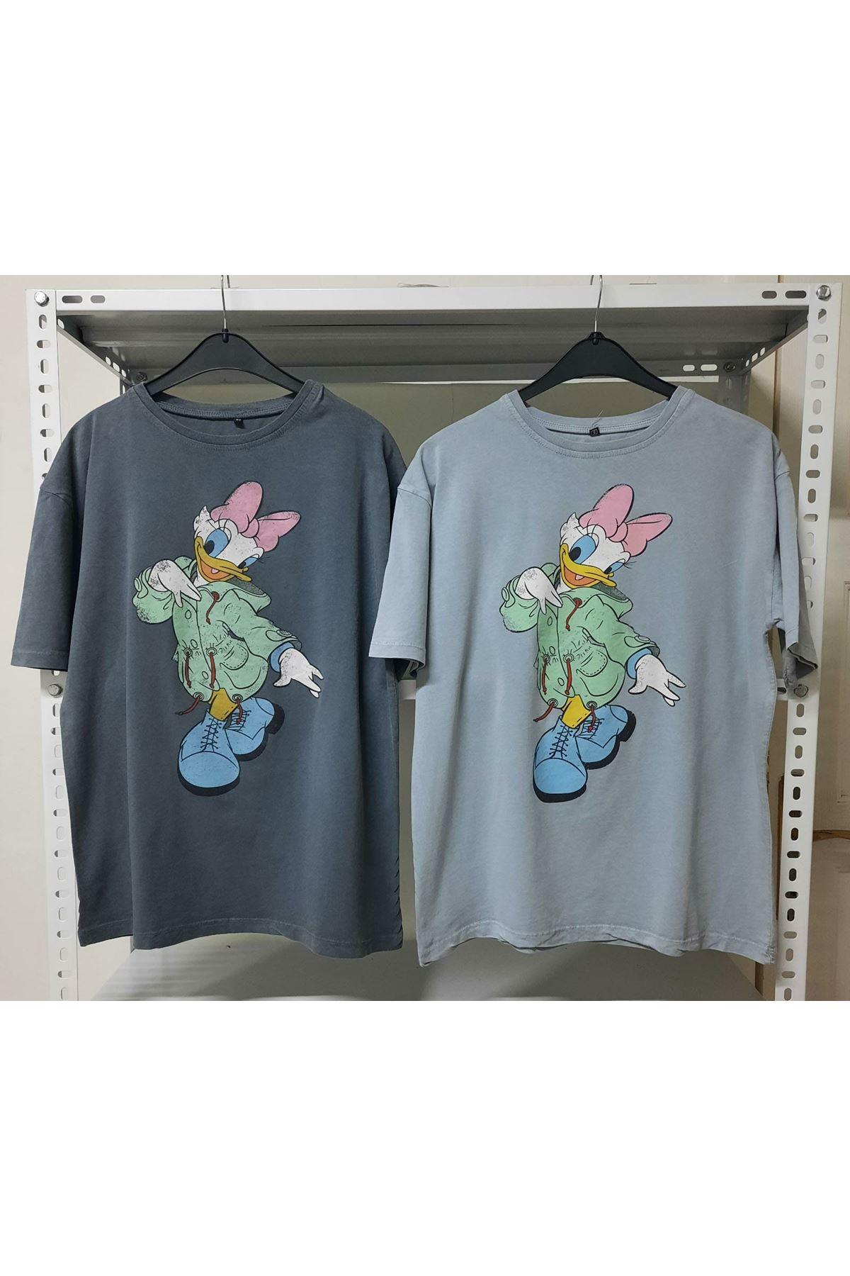 Duck Baskılı T-shirt - Gri