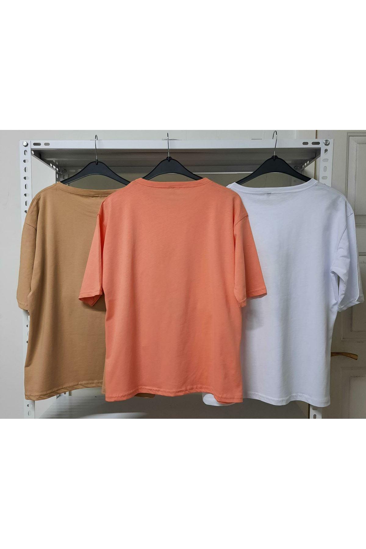 Ekose Mıckey Baskı T-shirt - Turuncu