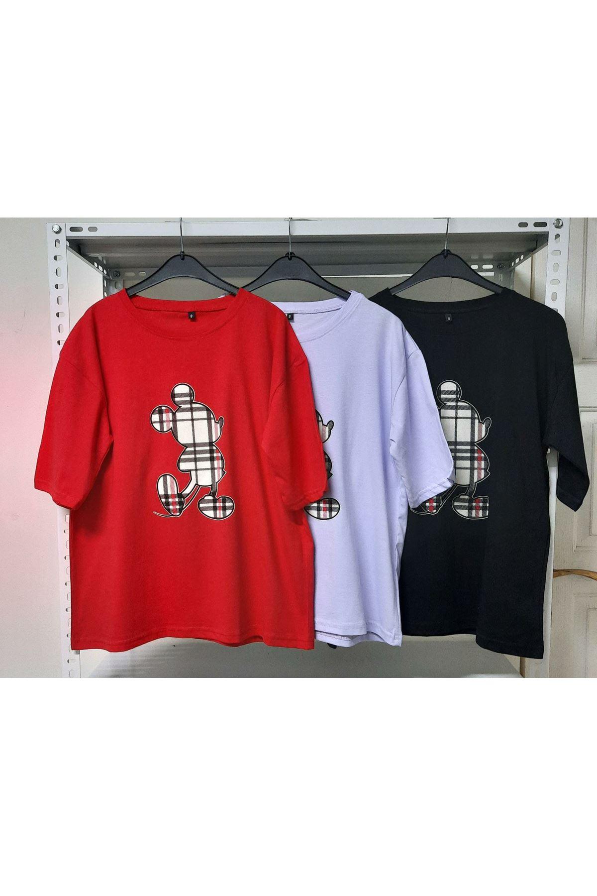 Ekose Mıckey Baskı T-shirt - Kırmızı
