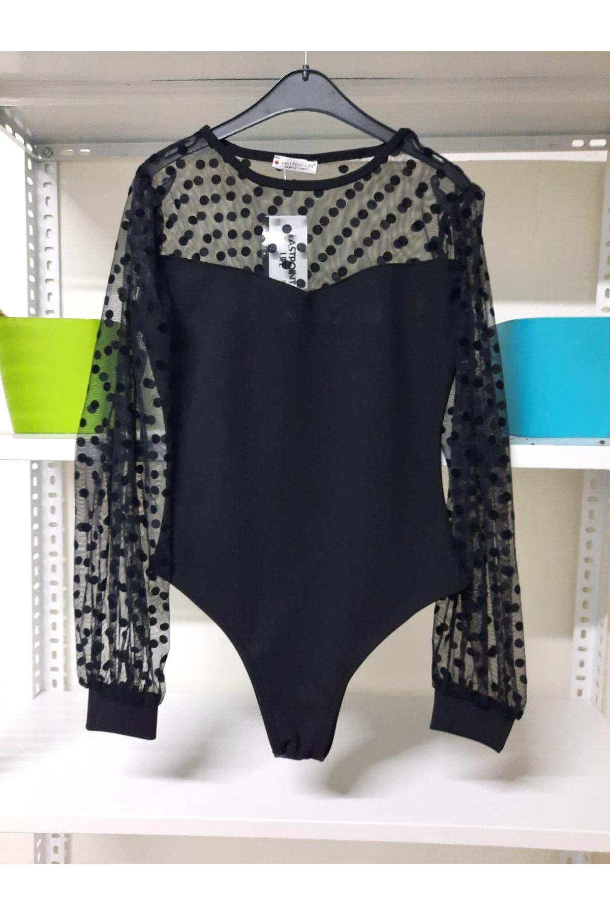 Tül Puan Detaylı Bodysuit - Siyah