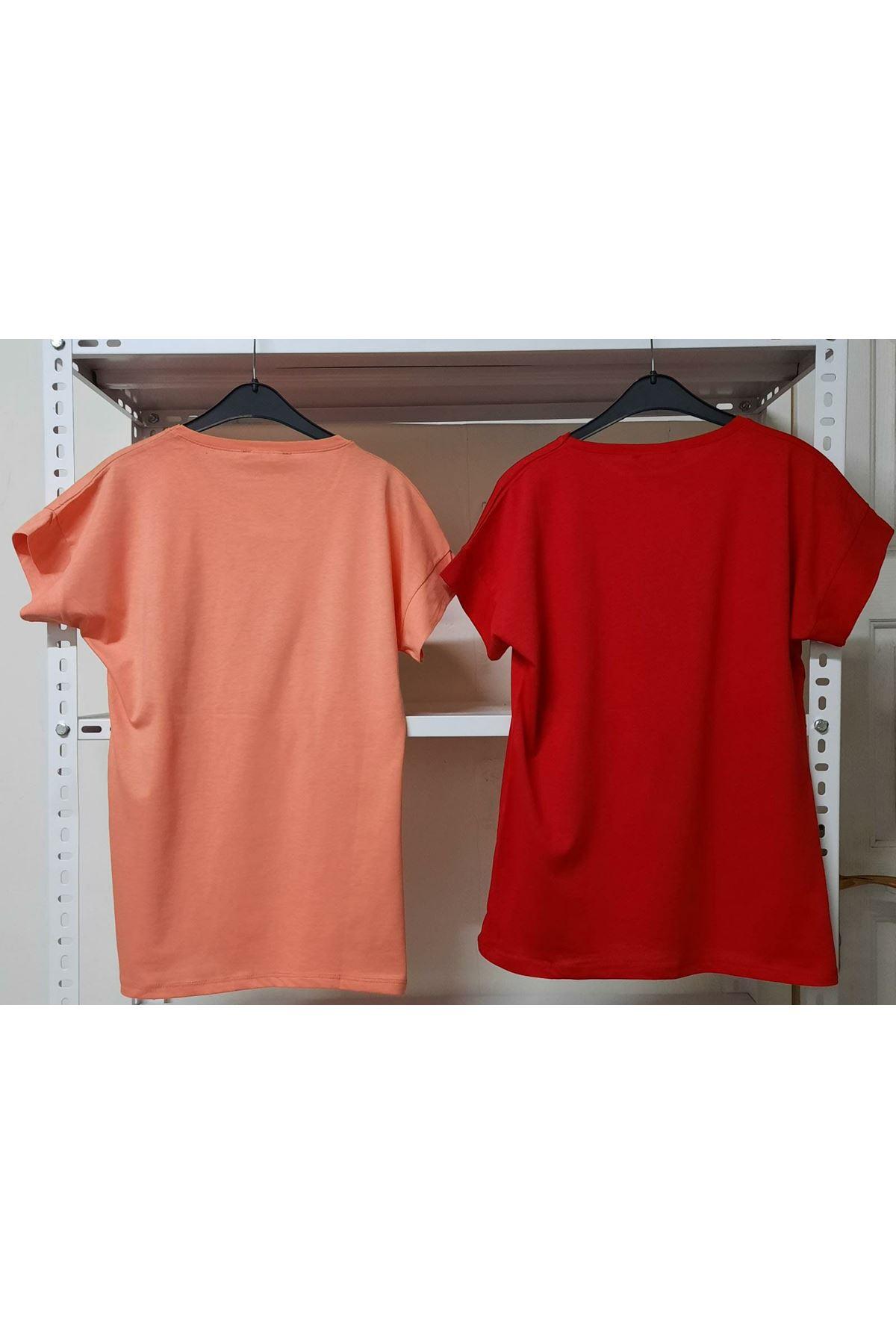 Silüet Baskılı T-shirt - KIRMIZI