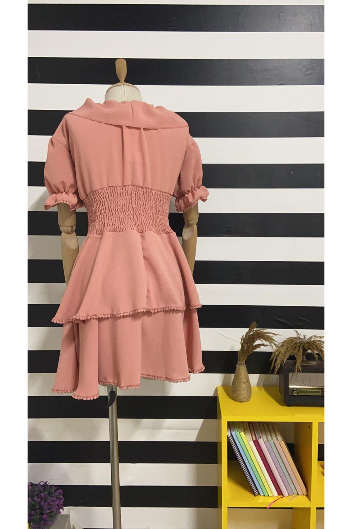 Gipeli Fırfır Yaka Keten Elbise - PUDRA