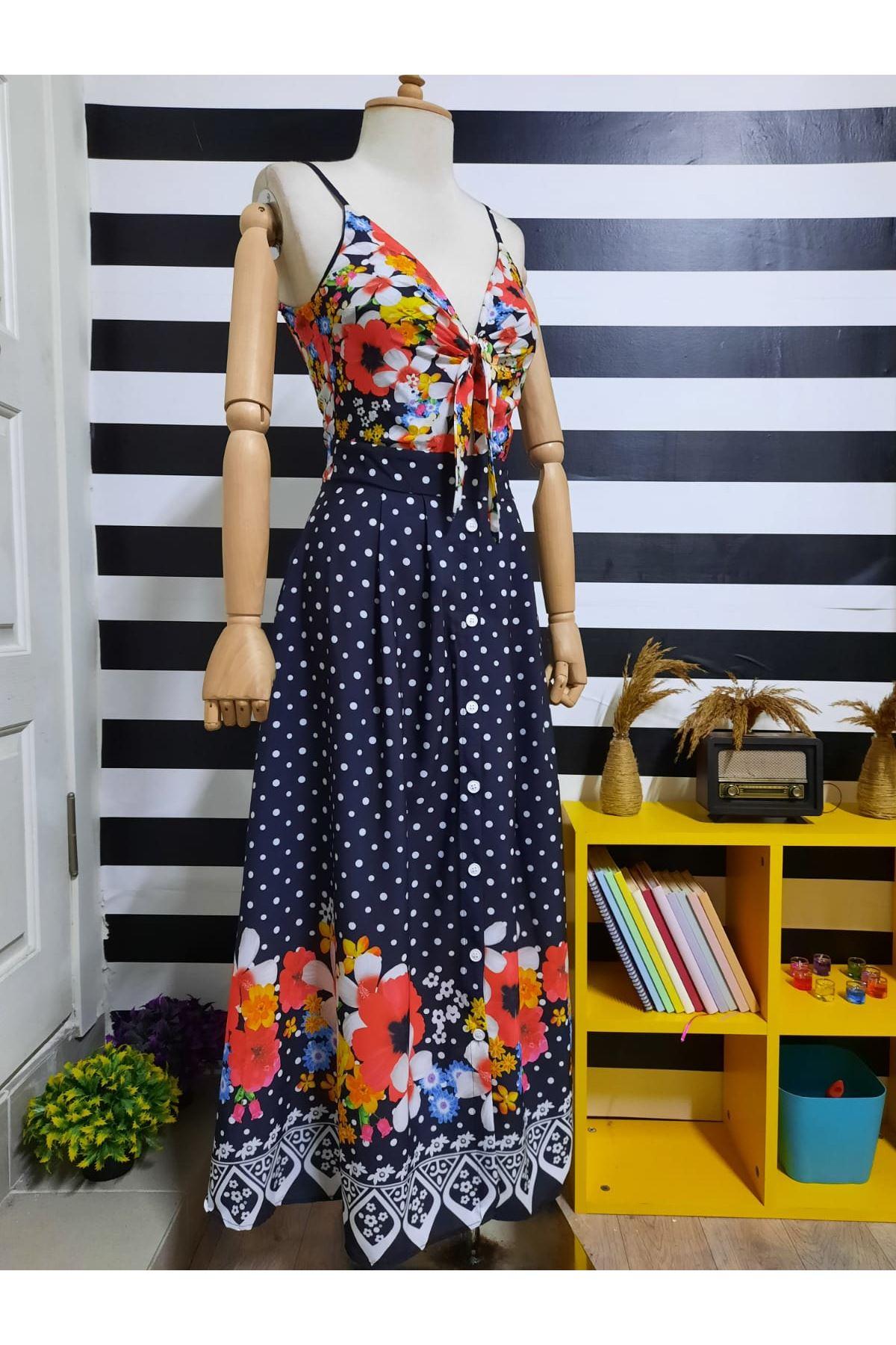 Düğme Detaylı Puanlı Elbise - LACİ