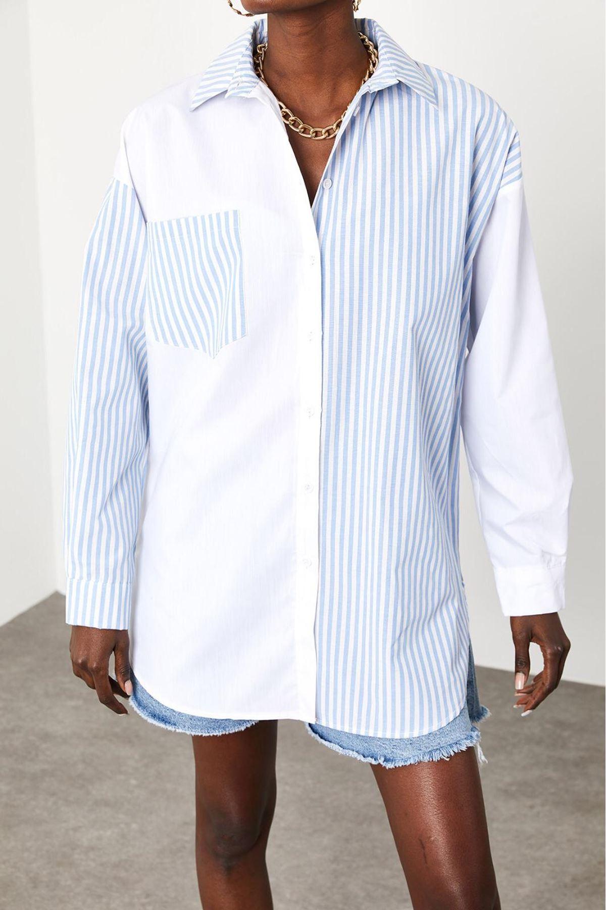 Çizgi Desen Cep Detaylı Gömlek - Beyaz