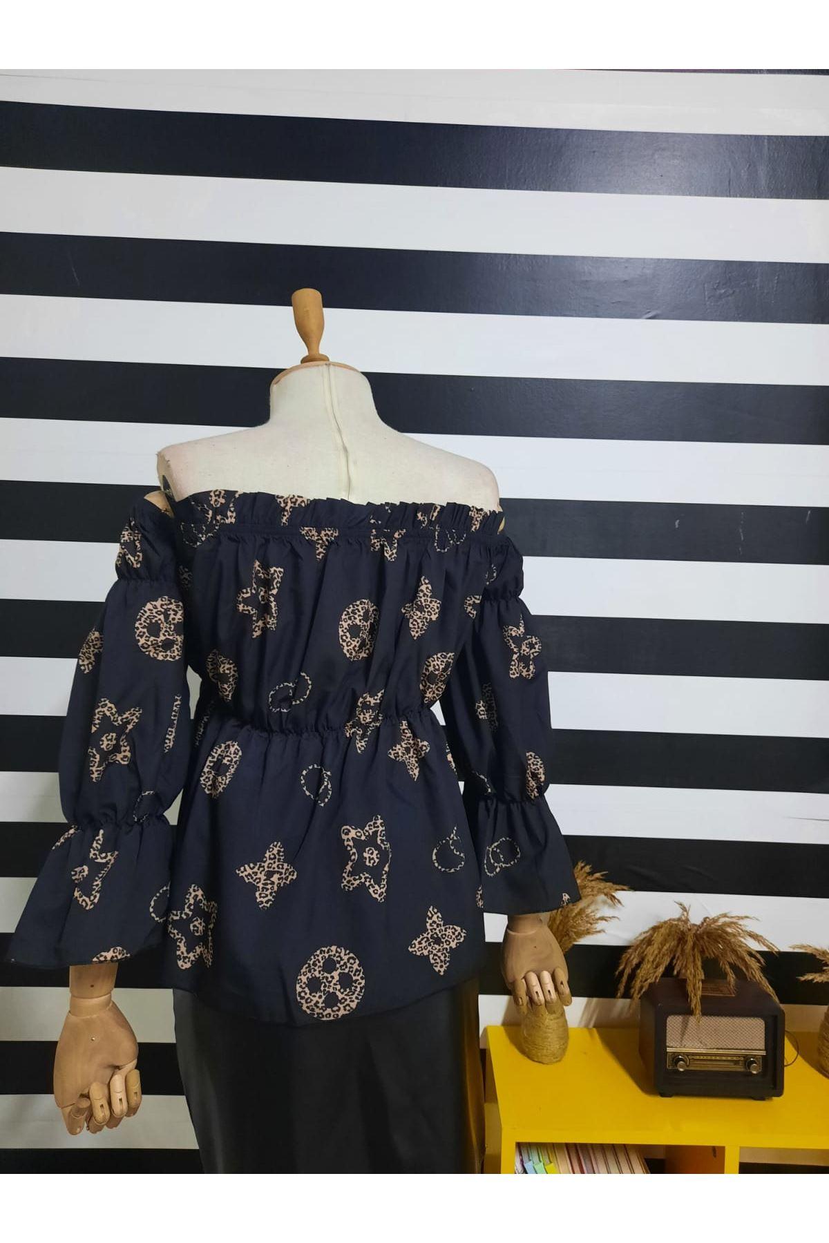 LV Desen Gipeli Bluz - Siyah
