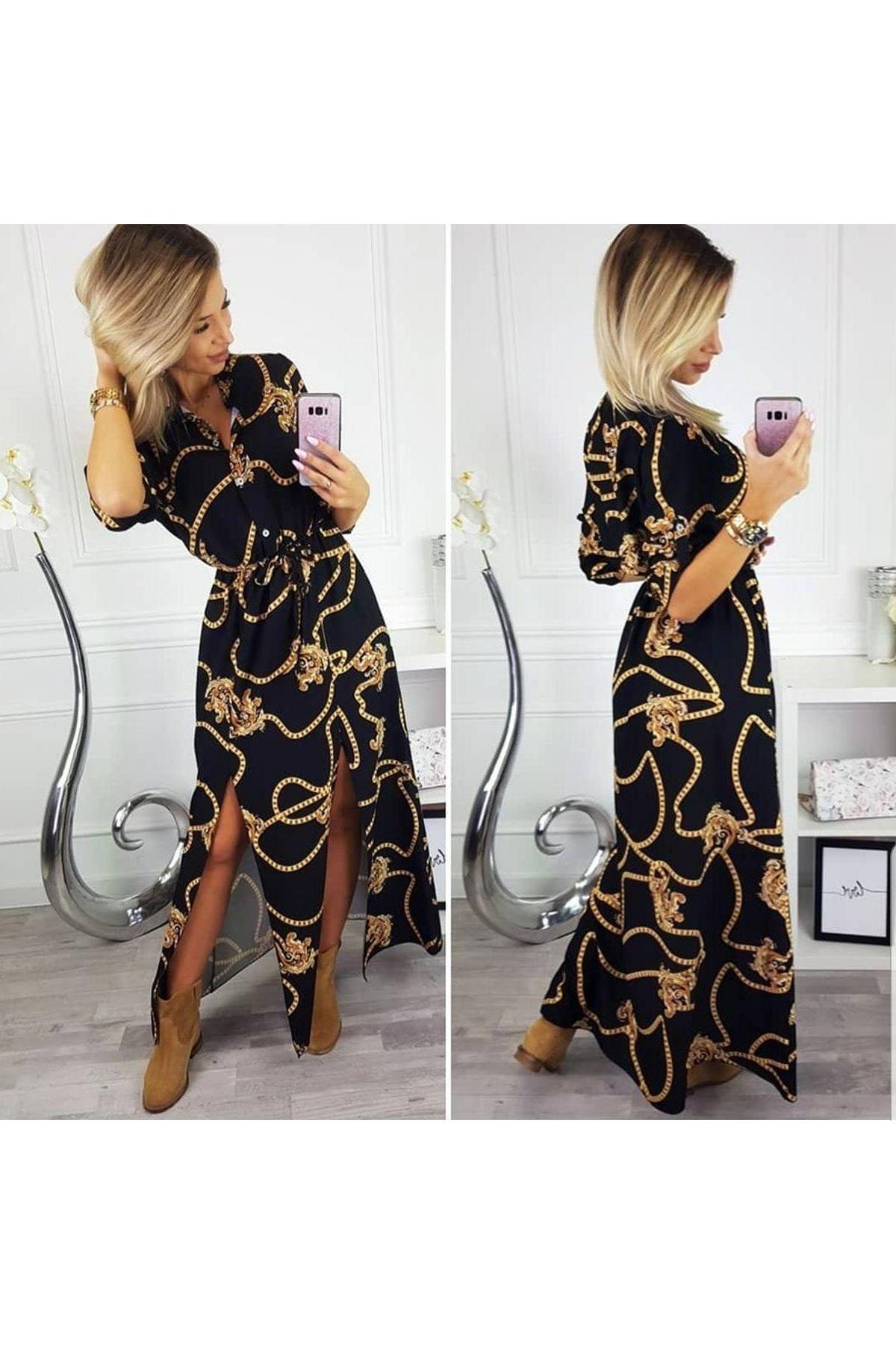 Çift Yırtmaçlı Maxi Elbise - SİYAH