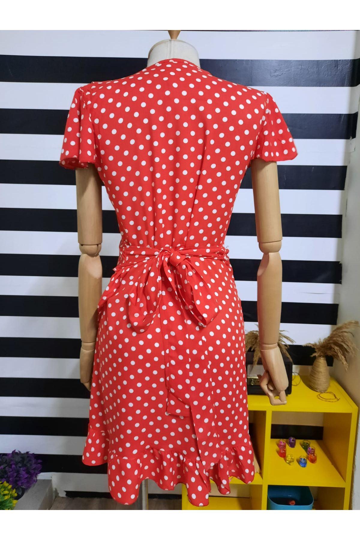 Fırfırlı Puan Desen Elbise - KIRMIZI